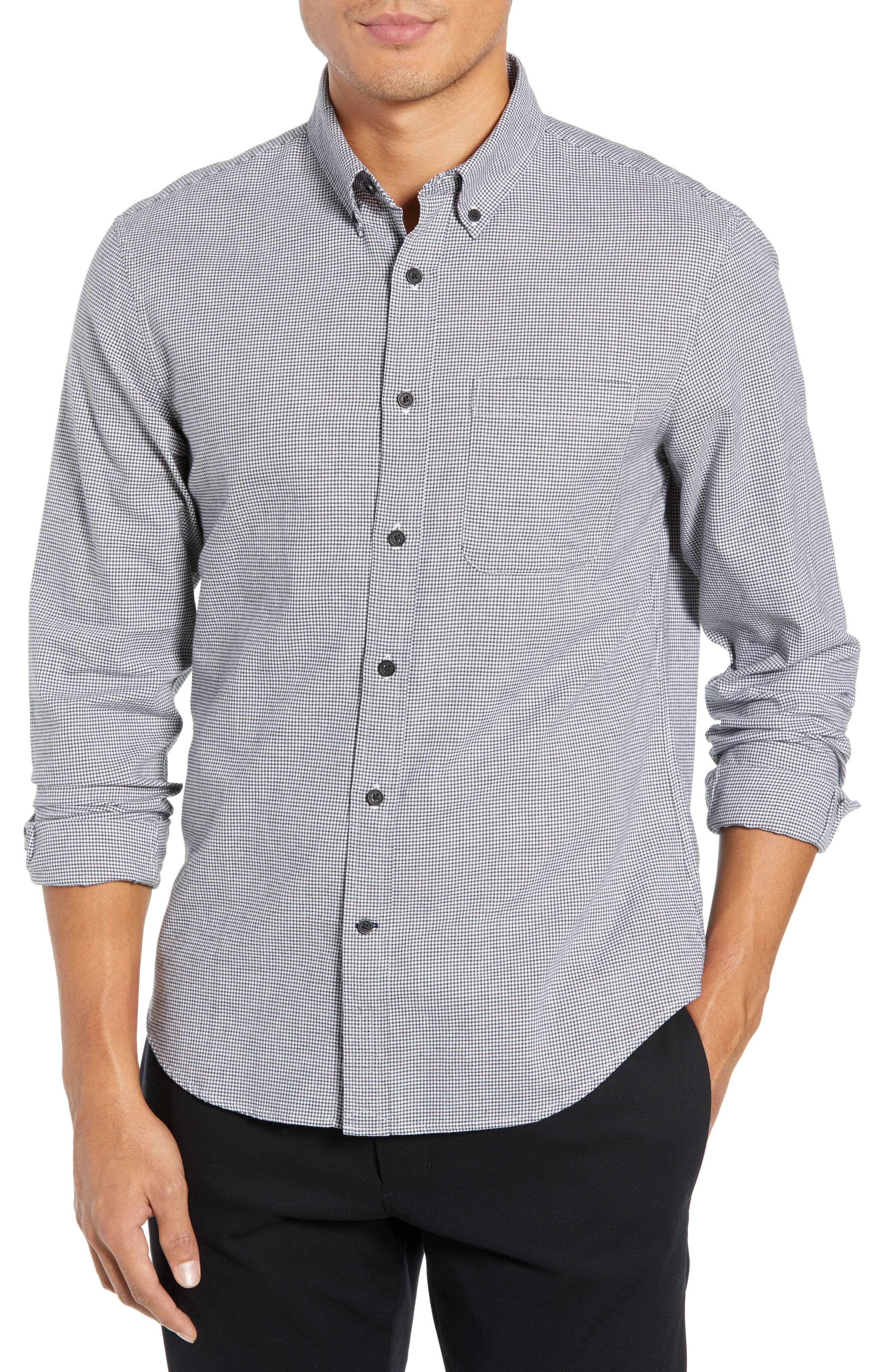 Trim Fit Houndstooth Flannel Sport Shirt,                             Main thumbnail 1, color,                             010