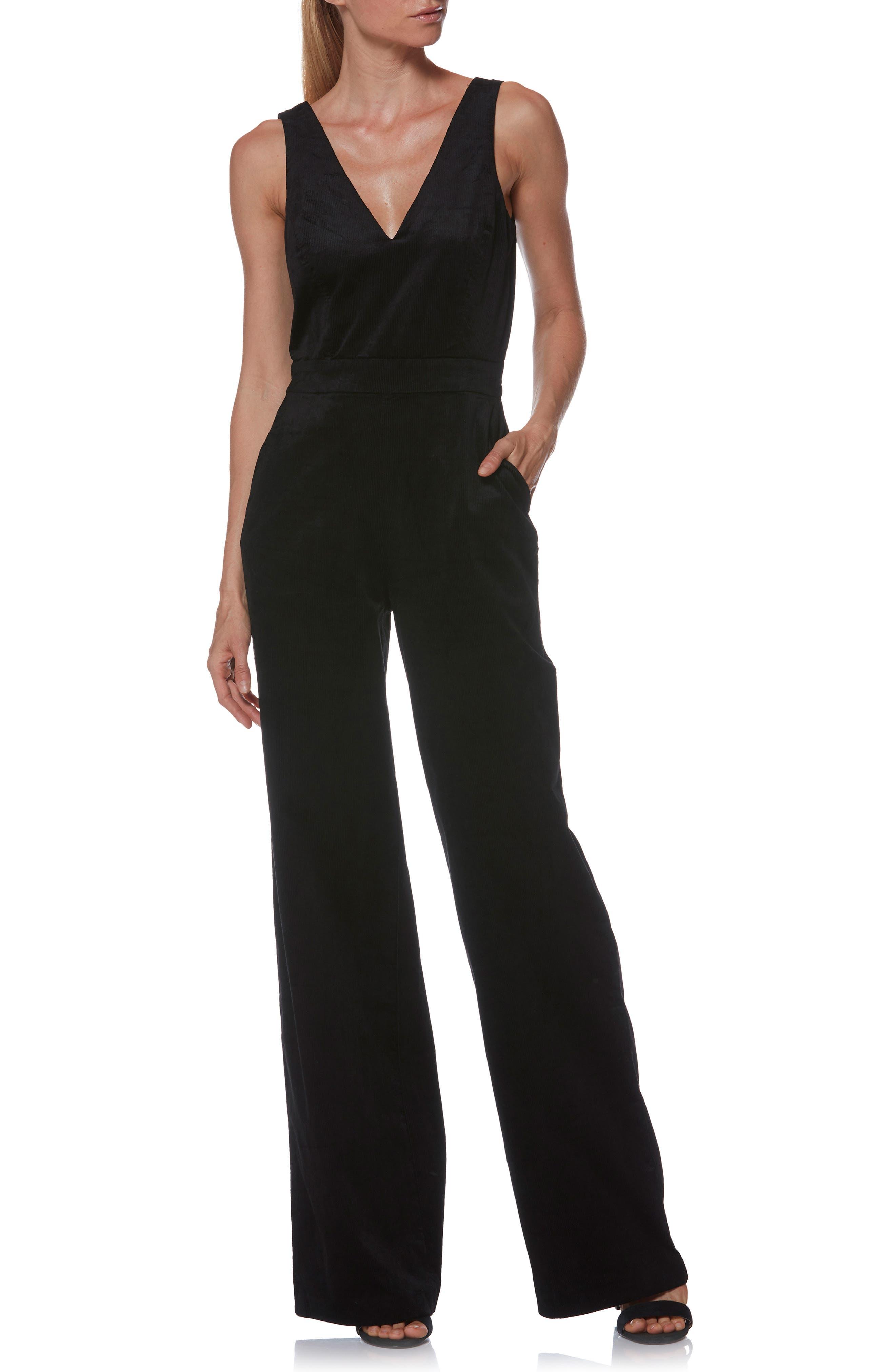 Sienne Corduroy Jumpsuit,                             Main thumbnail 1, color,                             BLACK