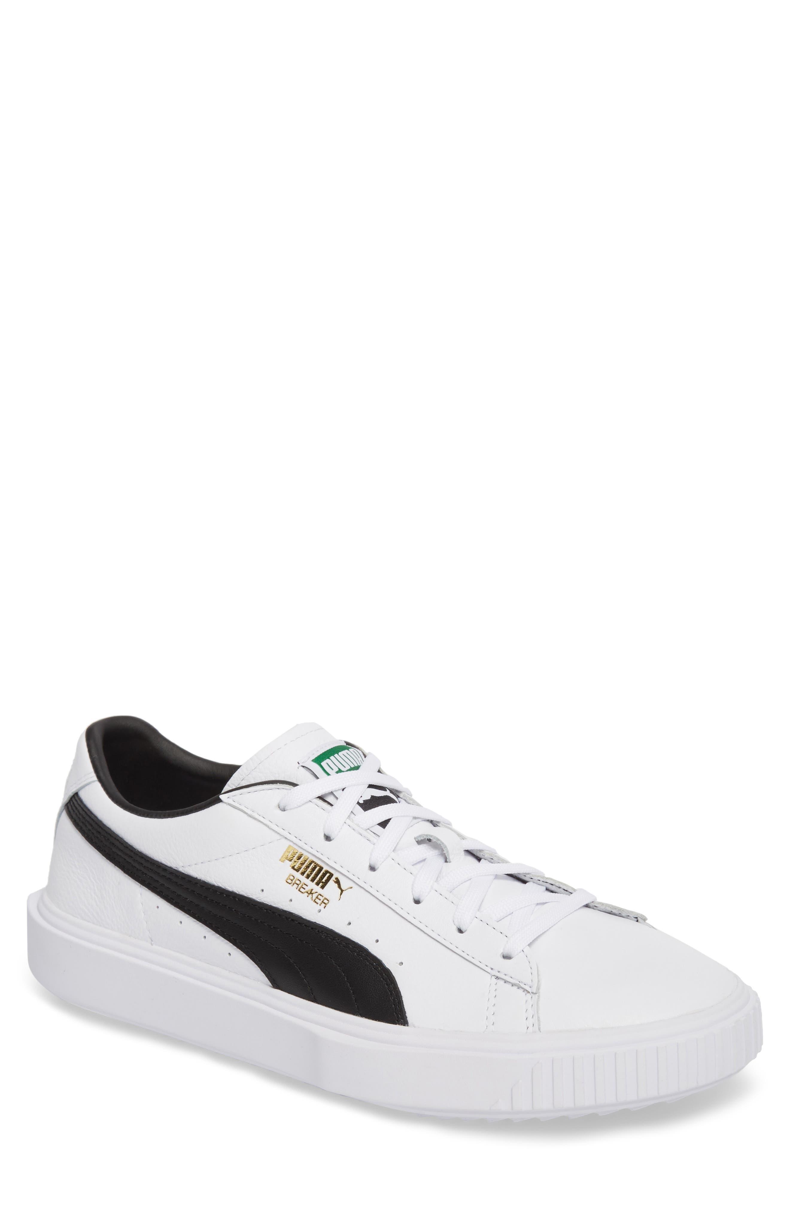 Breaker Low Top Sneaker,                         Main,                         color, WHITE/ BLACK LEATHER