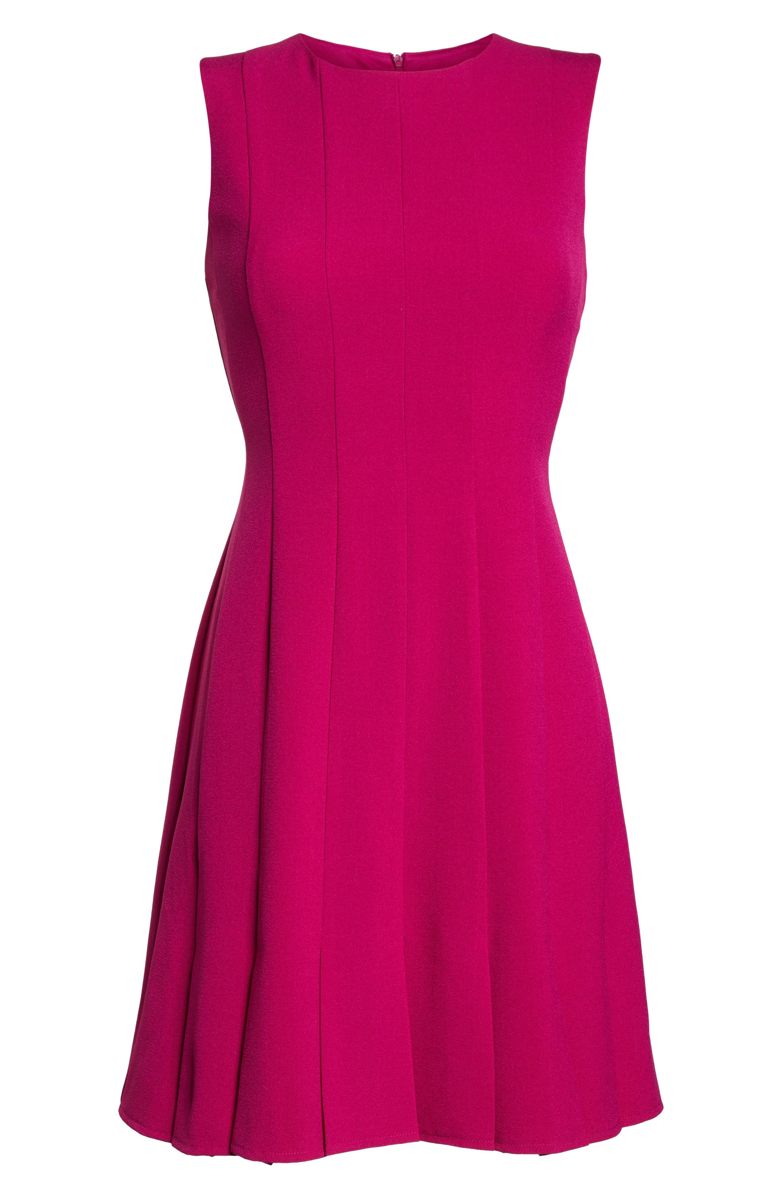 Sleeveless Pleat Panel Fit & Flare Dress,                             Alternate thumbnail 7, color,                             FUCHSIA