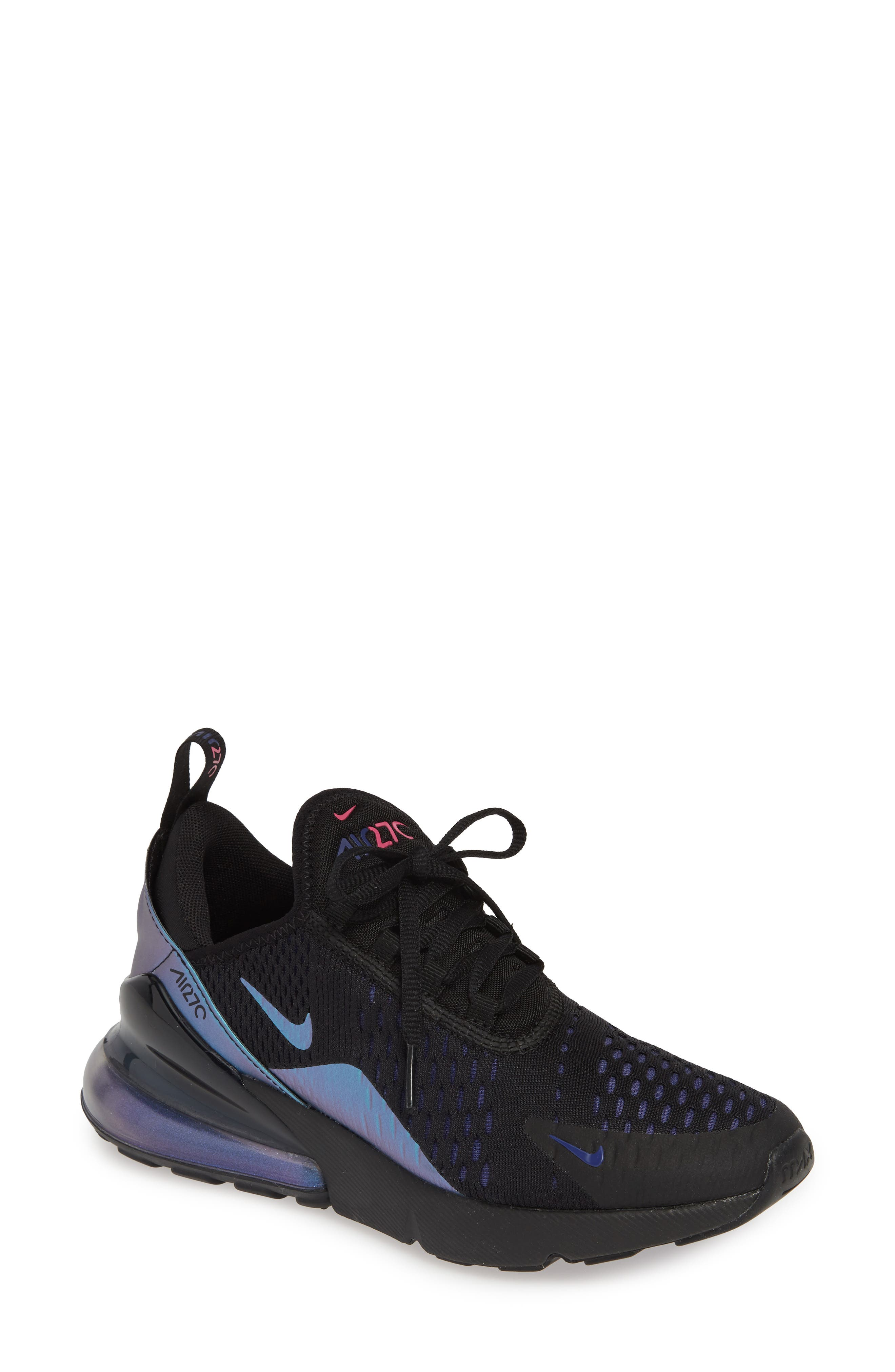 NIKE,                             Air Max 270 Premium Sneaker,                             Main thumbnail 1, color,                             BLACK/ FUCHSIA/ PURPLE