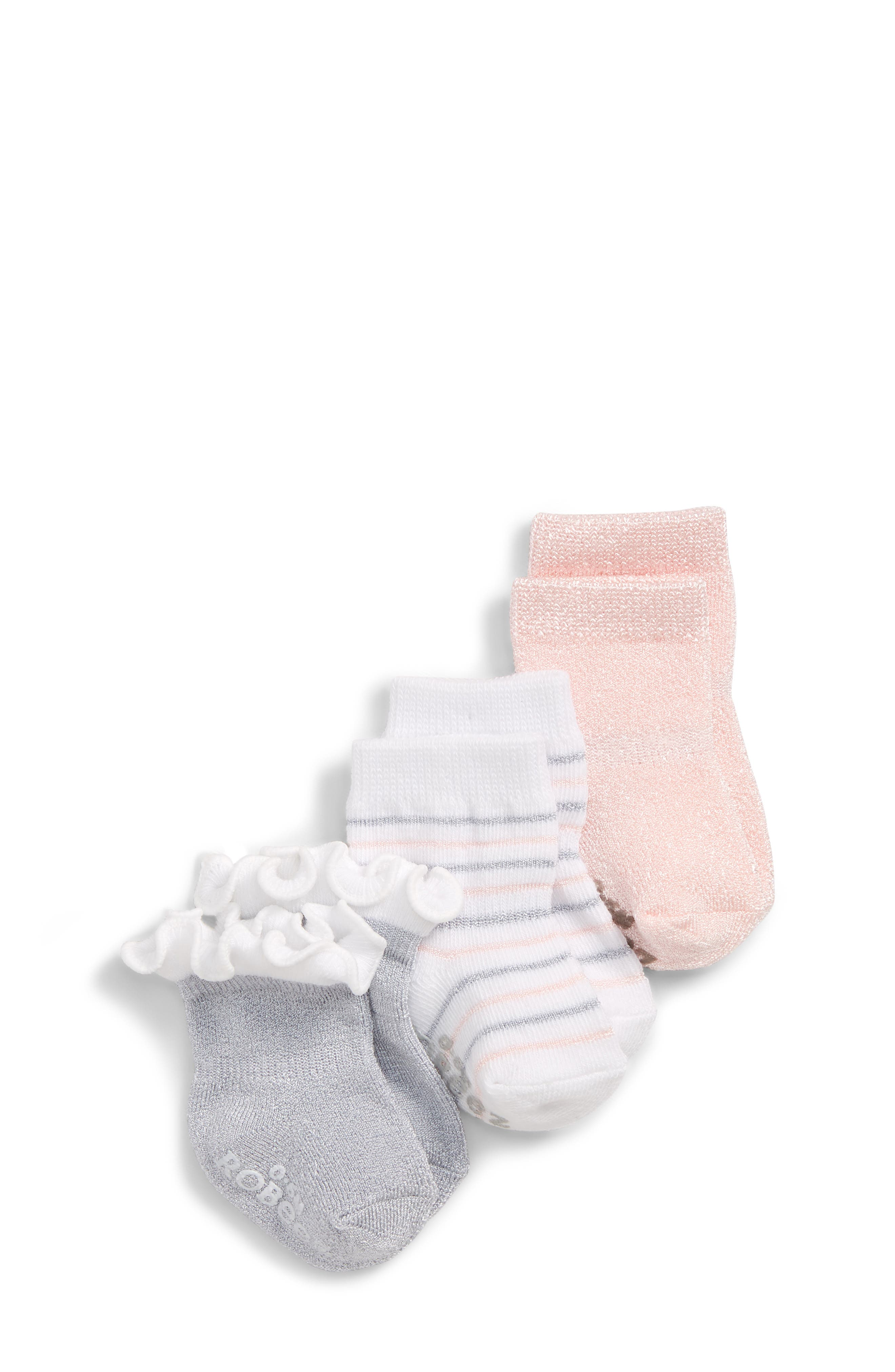3-Pack Ankle Socks,                             Main thumbnail 1, color,                             SILVER/ WHITE/ PINK