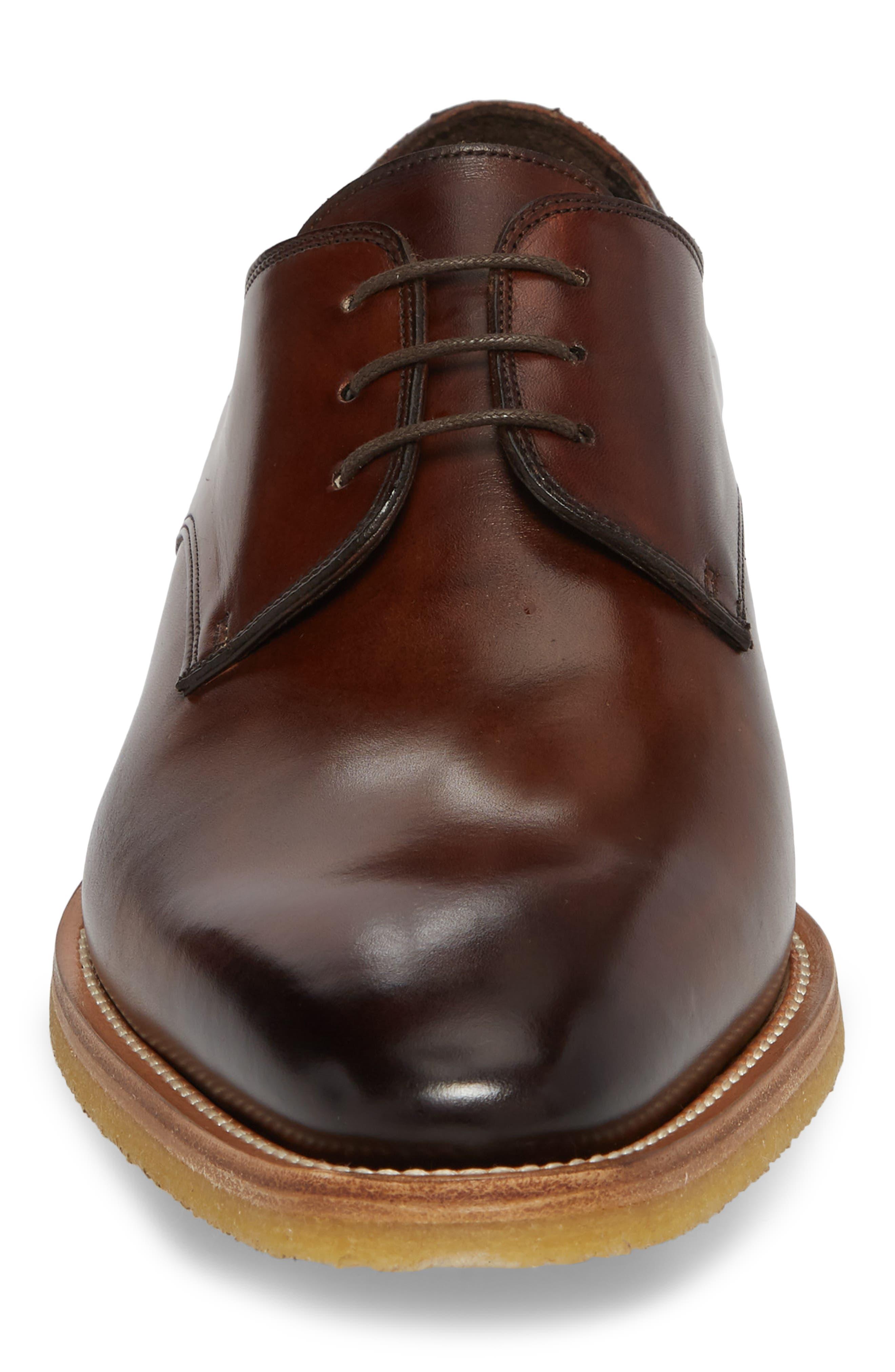 Caruso Plain Toe Derby,                             Alternate thumbnail 4, color,                             CHESTNUT LEATHER