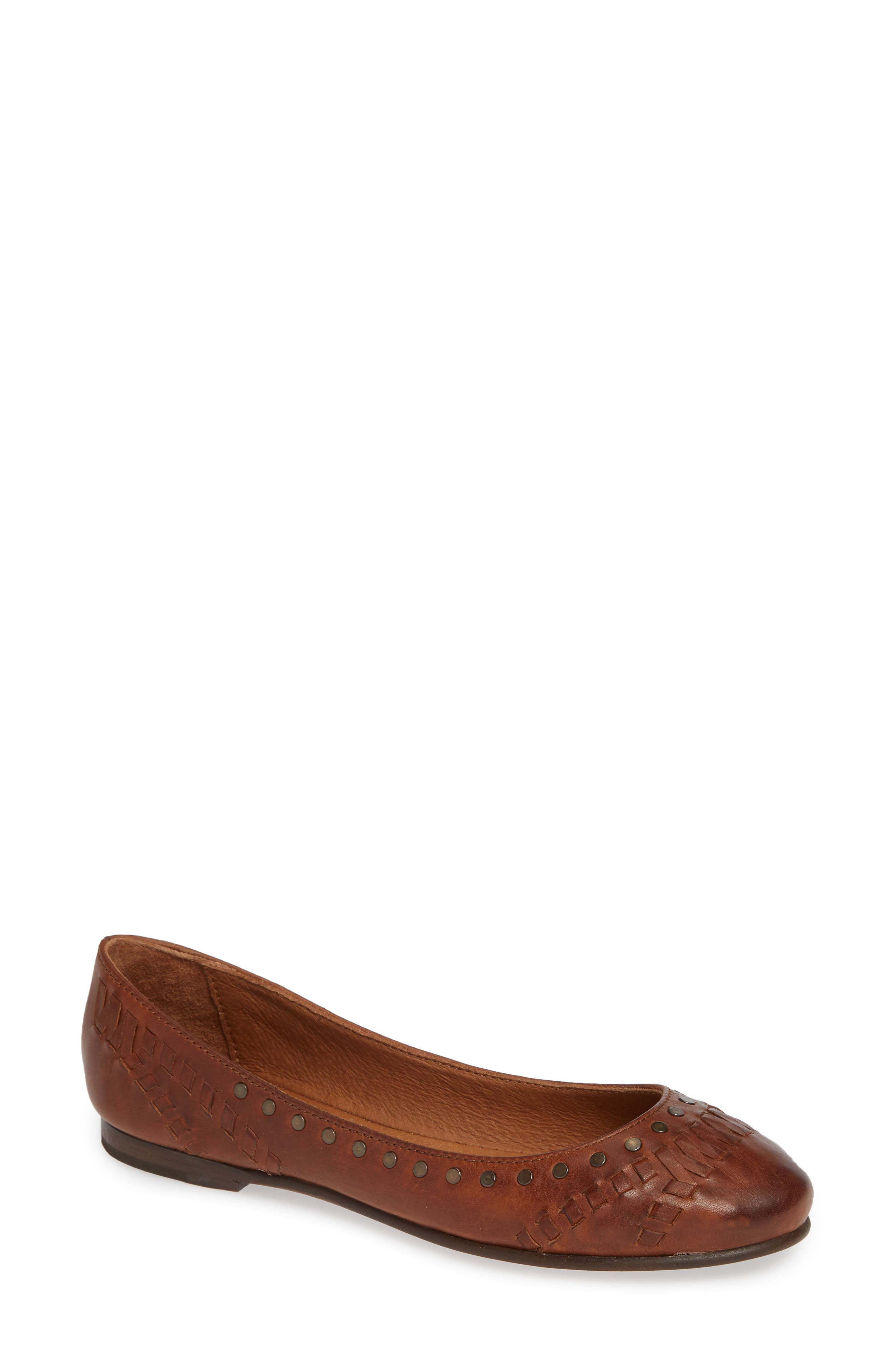 Carson Whipstitch Ballet Flat,                             Main thumbnail 1, color,                             COGNAC LEATHER