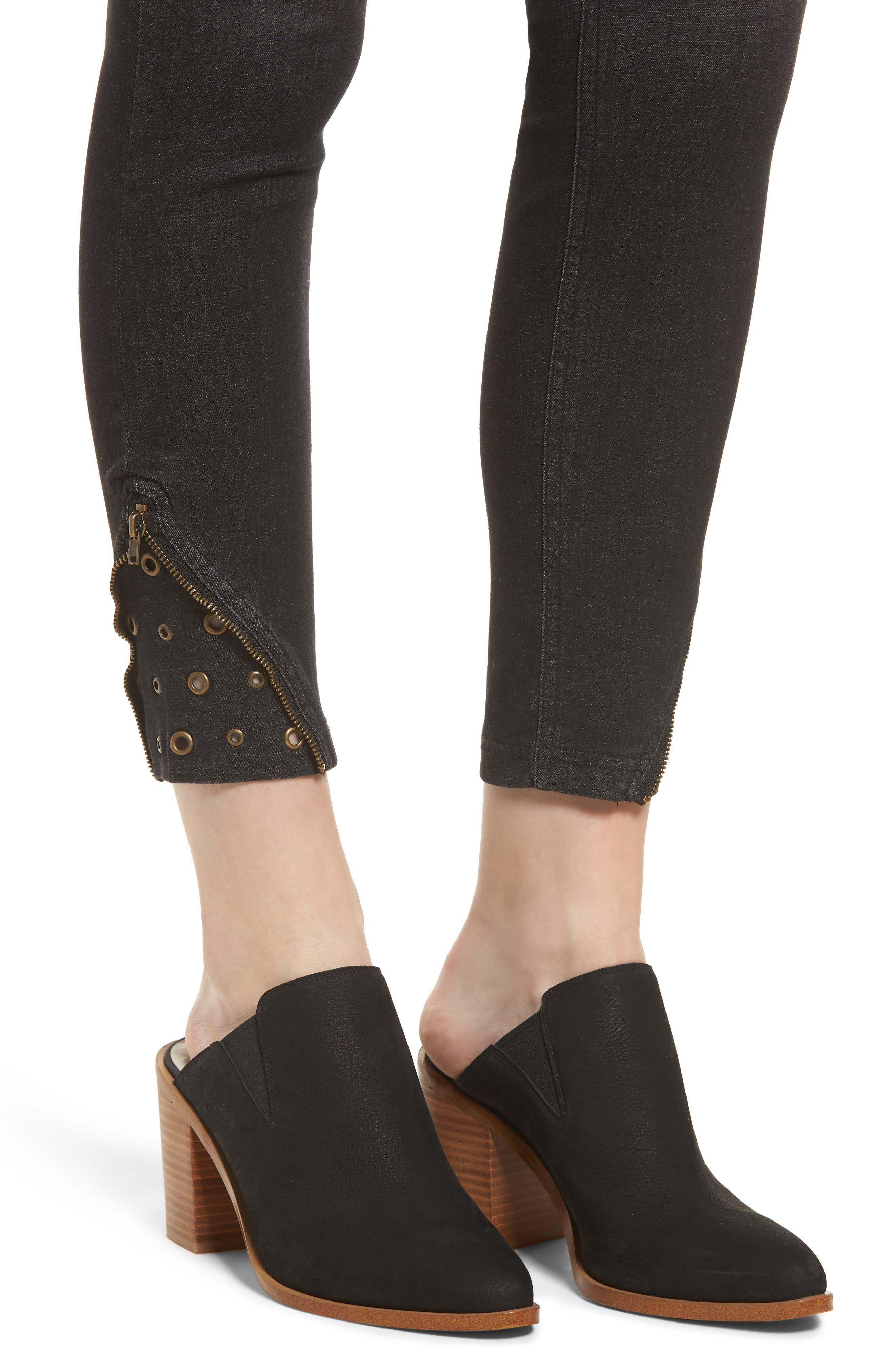 High Waist Embellished Denim Skimmer Leggings,                             Alternate thumbnail 4, color,                             BLACK WASH