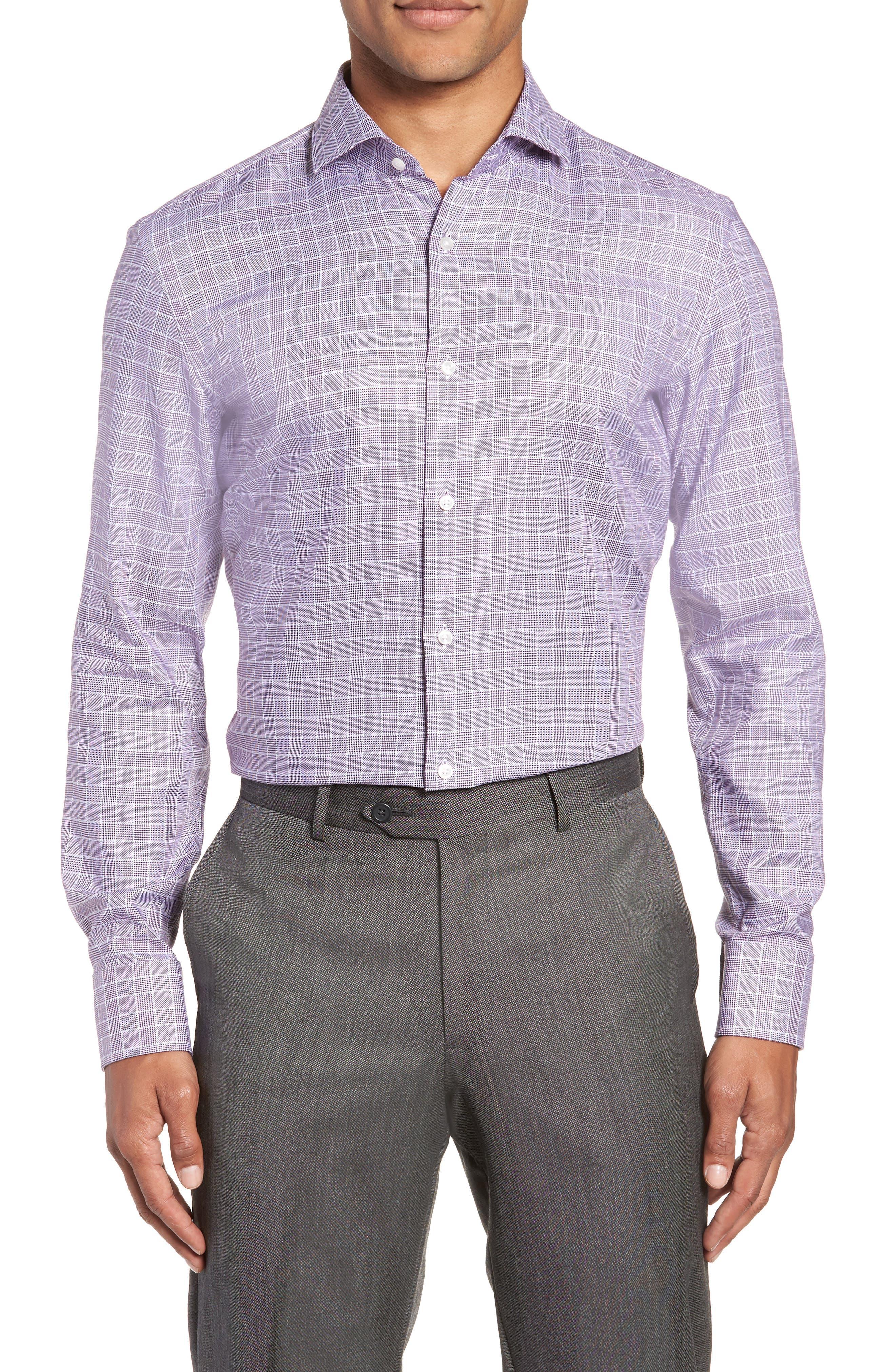 Jason Slim Fit Plaid Dress Shirt,                         Main,                         color, 504 PURPLE