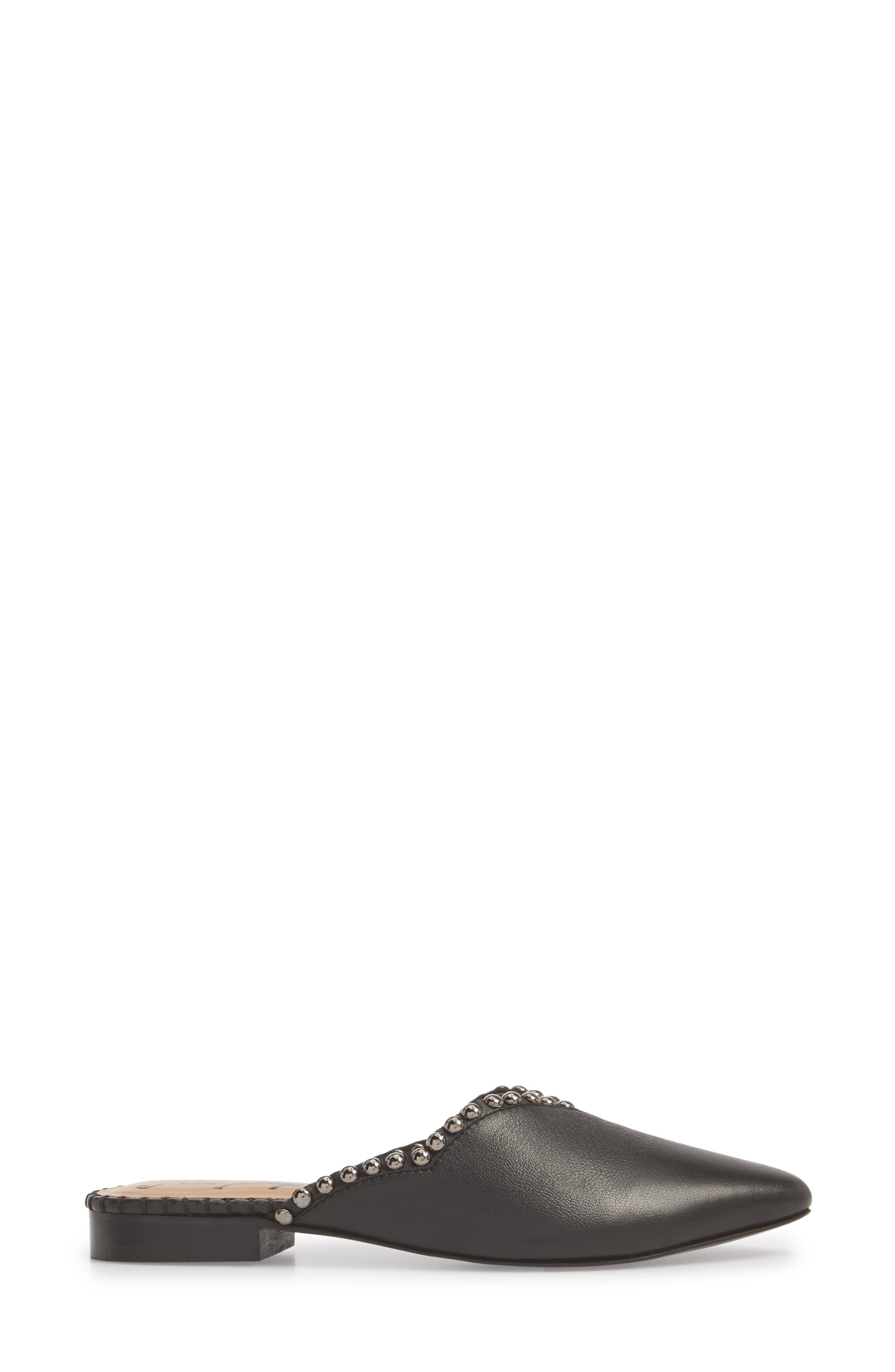 Newport Studded Mule,                             Alternate thumbnail 3, color,                             BLACK