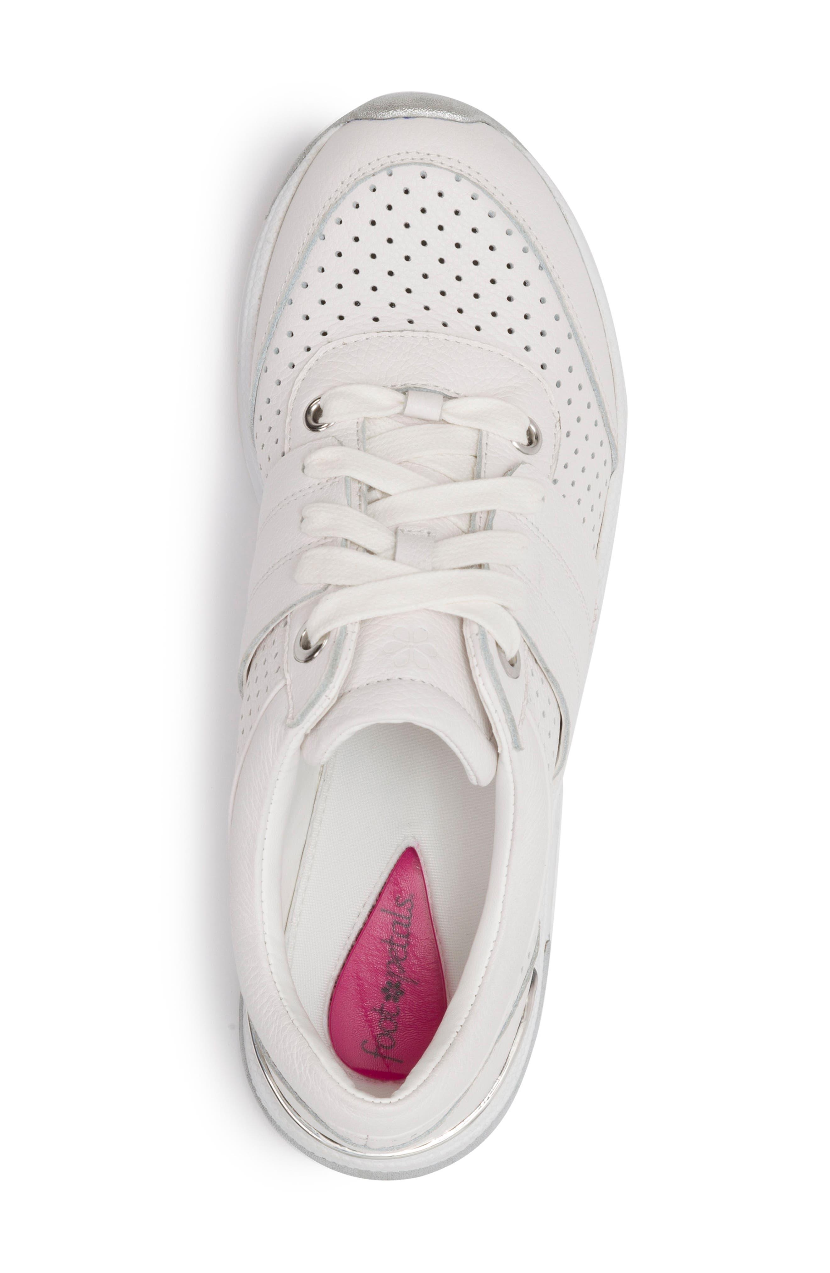 FOOT PETALS,                             Bea Sneaker,                             Alternate thumbnail 5, color,                             WHITE LEATHER