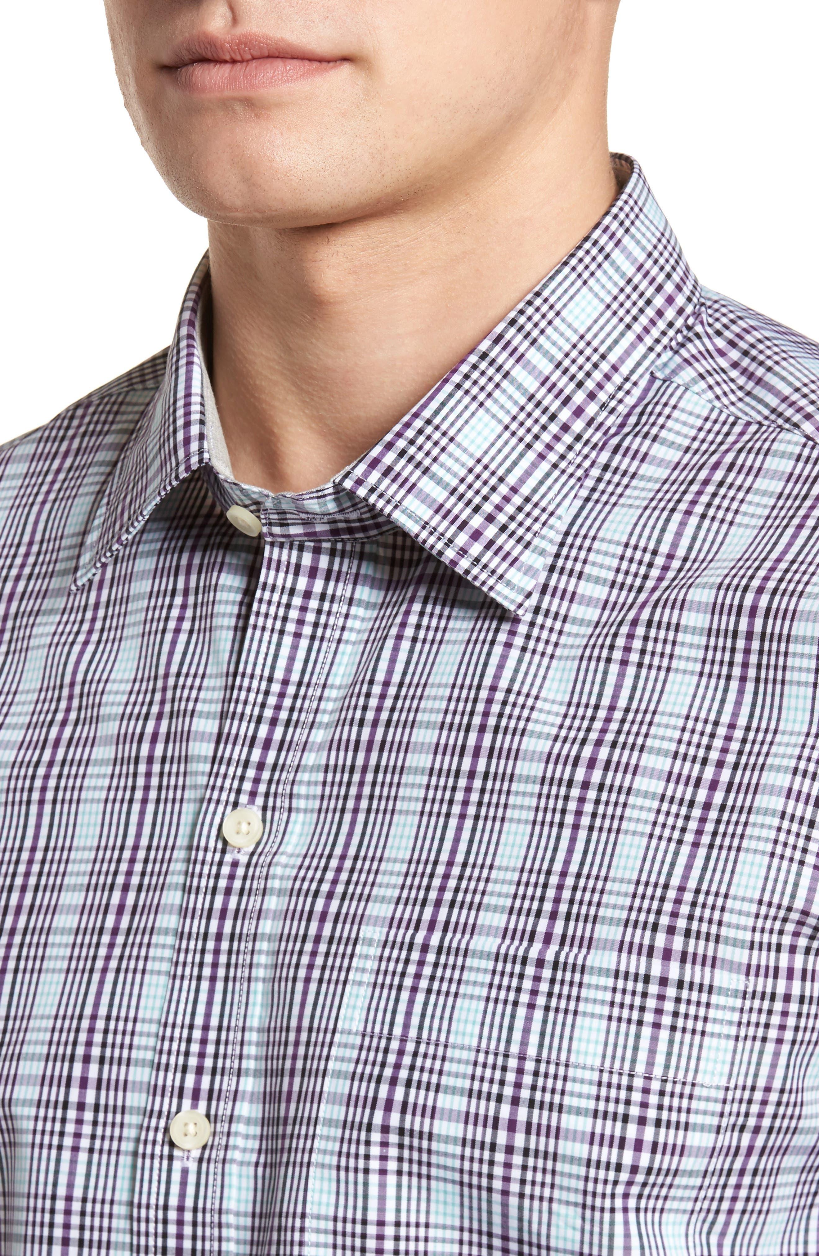 Hoyt Non-Iron Plaid Sport Shirt,                             Alternate thumbnail 4, color,                             522