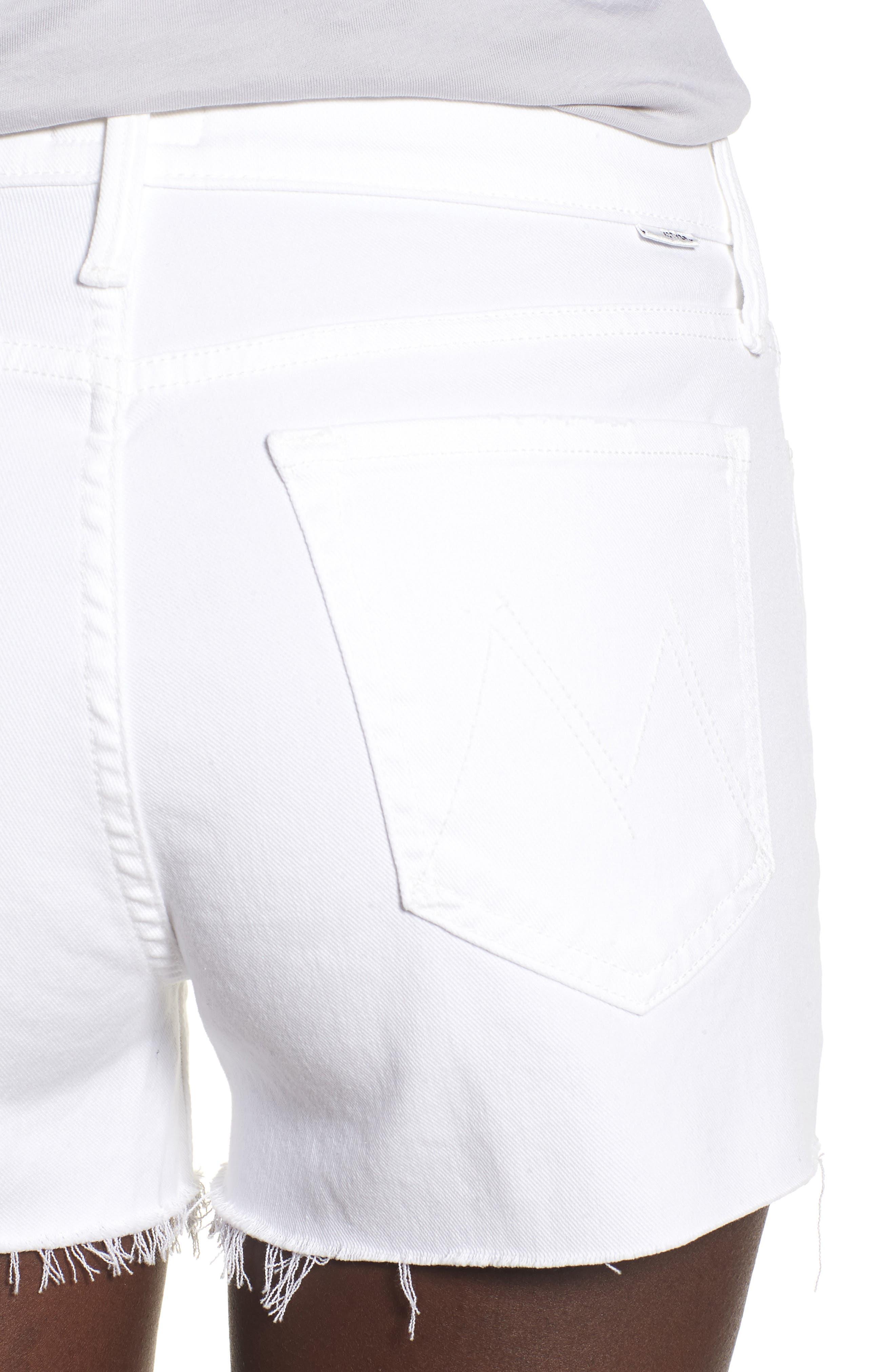 The Charmer Fray Denim Shorts,                             Alternate thumbnail 4, color,                             100