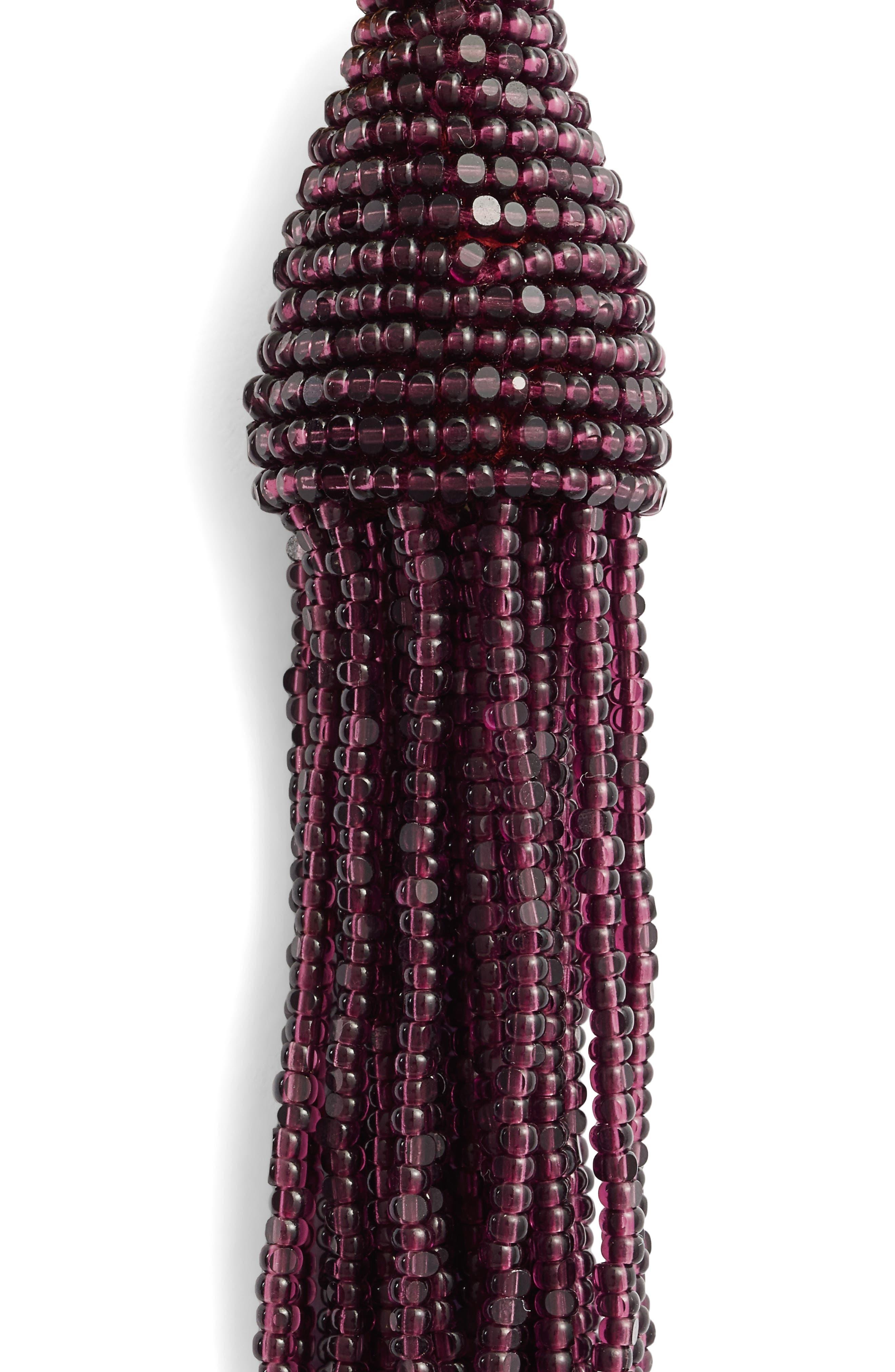 Long Beaded Tassel Drop Earrings,                             Alternate thumbnail 5, color,                             505