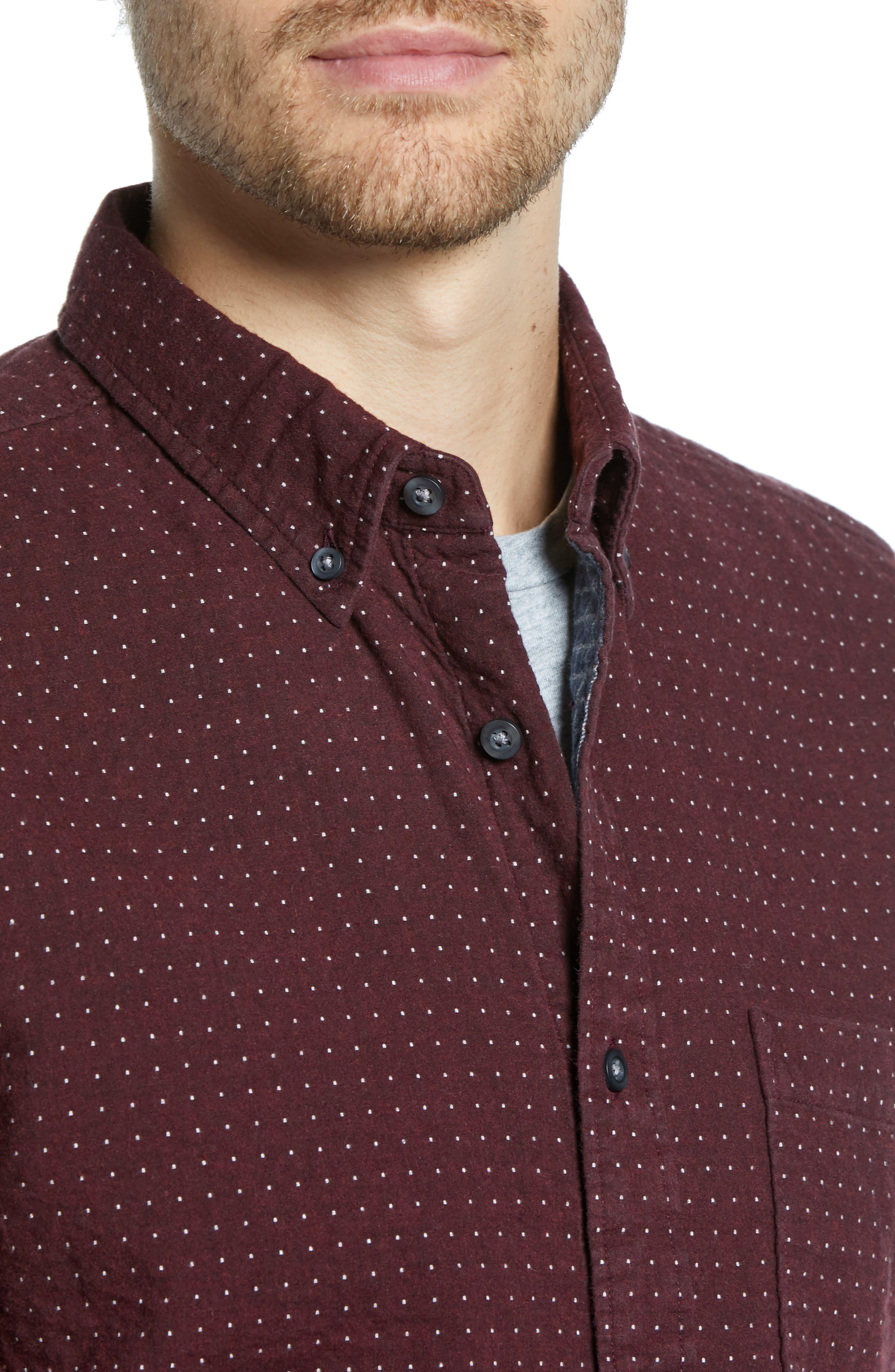 Trim Fit Dot Flannel Sport Shirt,                             Alternate thumbnail 2, color,                             BURGUNDY ROYALE GREY DUOFOLD