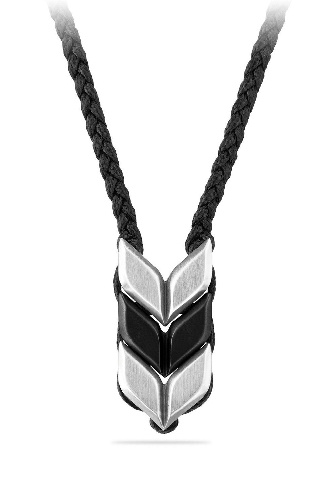 Chevron Woven Necklace,                         Main,                         color, TITANIUM/ SILVER