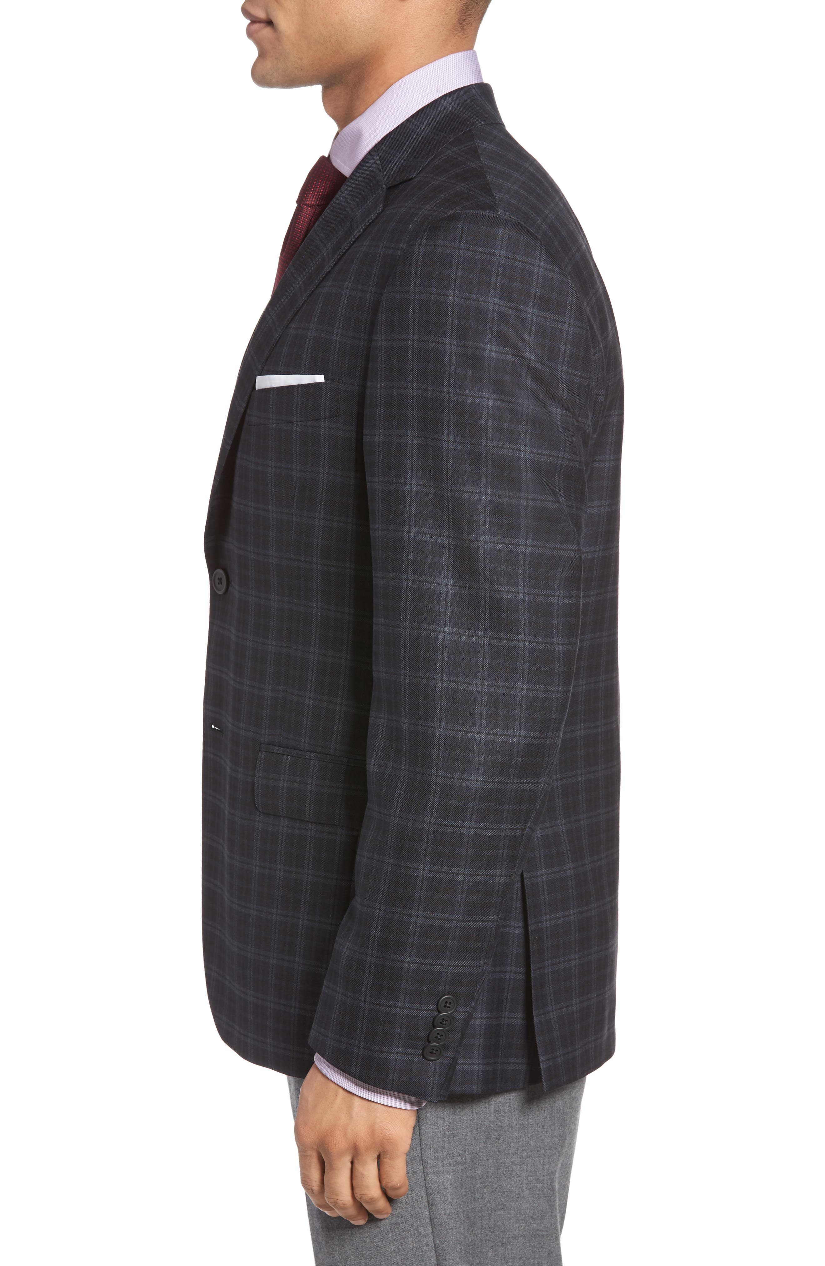 Classic Fit Plaid Wool Sport Coat,                             Alternate thumbnail 3, color,                             422