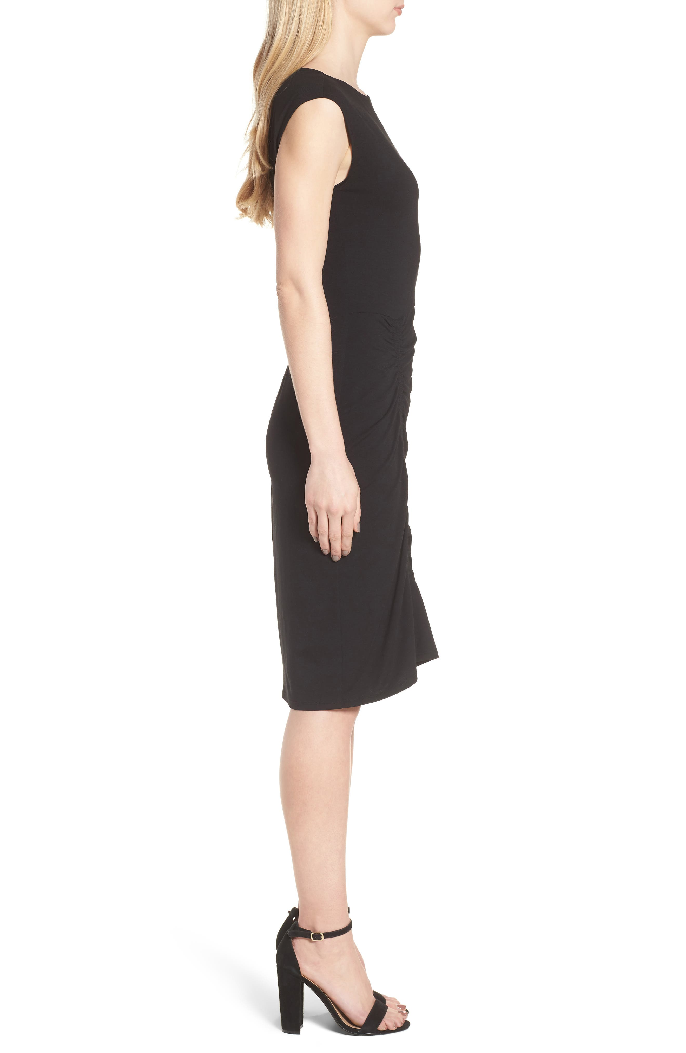 Ruched Knit Dress,                             Alternate thumbnail 3, color,                             001
