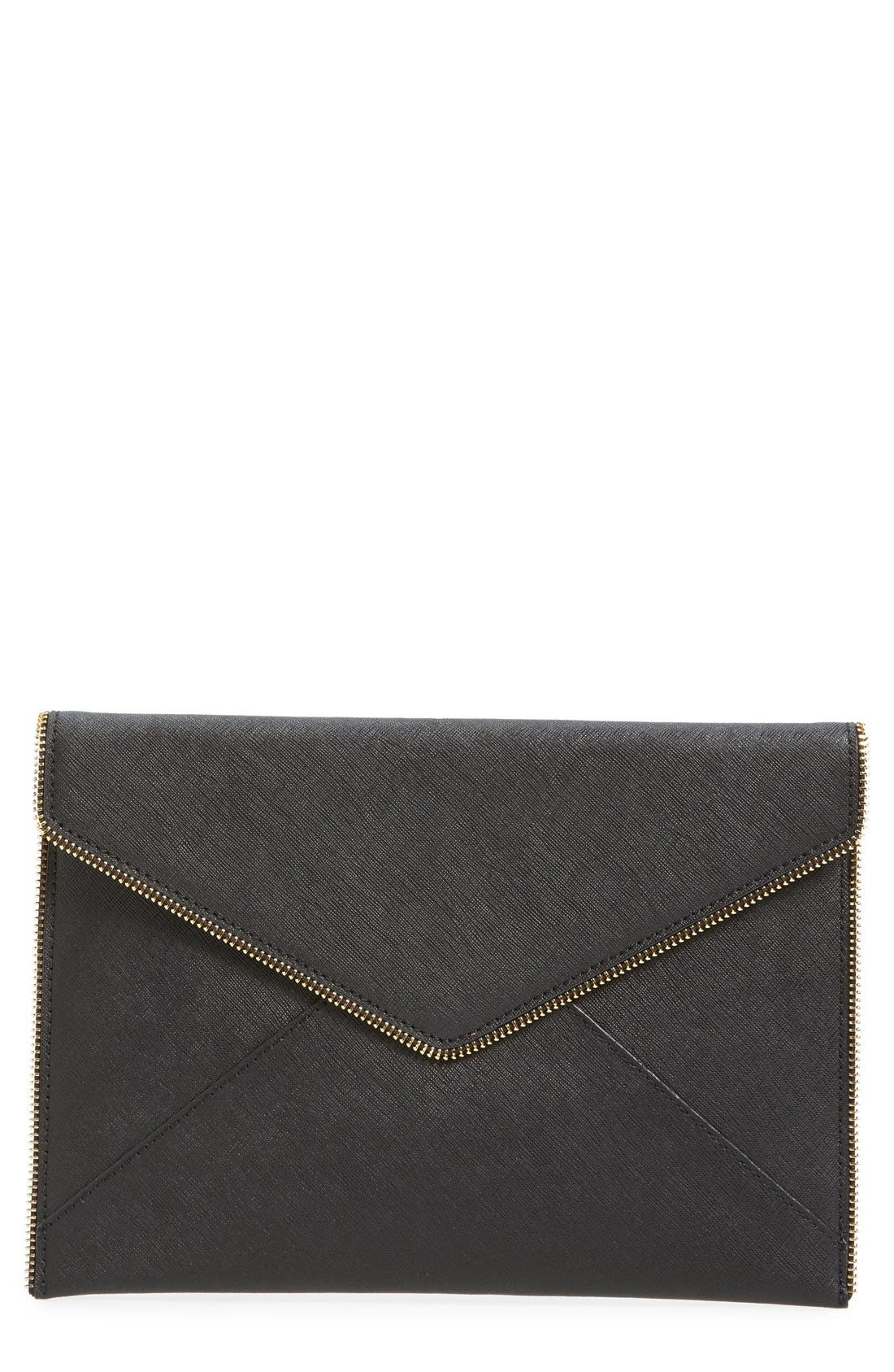 Leo Saffiano Clutch Bag, Black