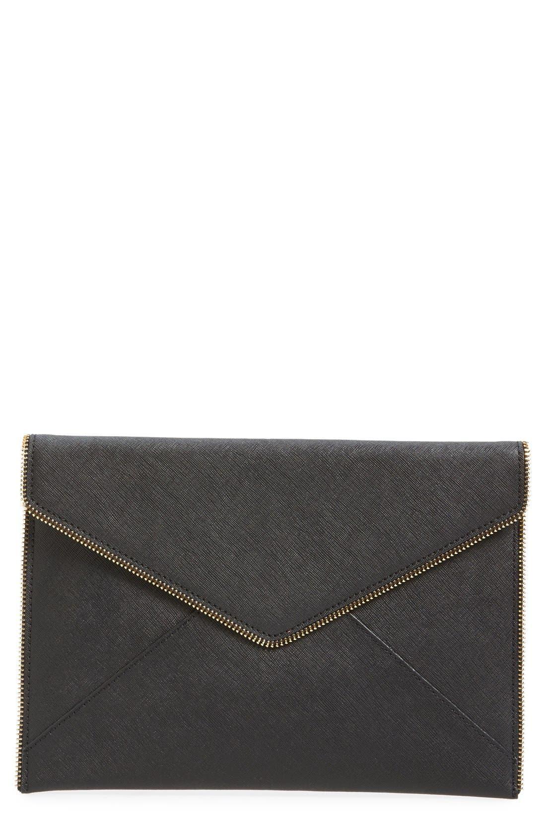 REBECCA MINKOFF Leo Saffiano Clutch Bag, Black