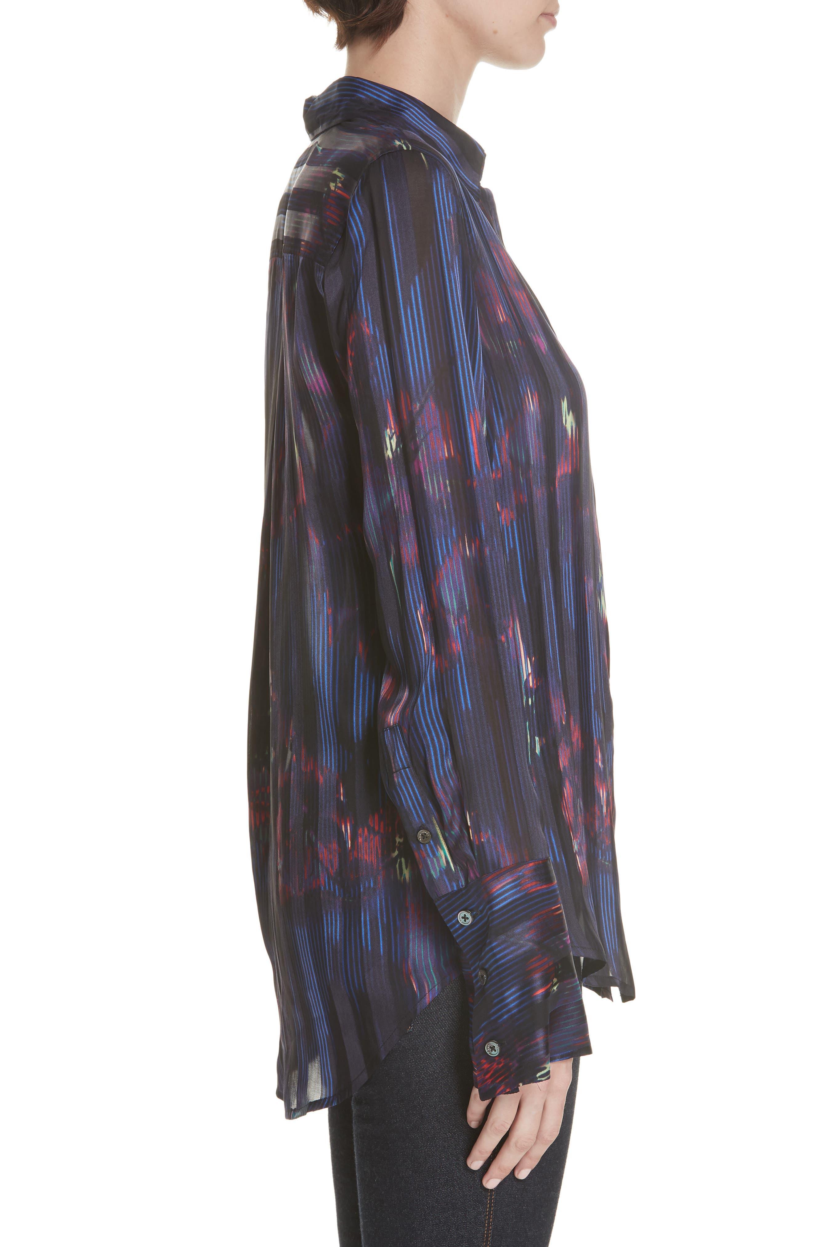 Eleonore Print Silk Blend Shirt,                             Alternate thumbnail 3, color,                             ECLIPSE MULTI