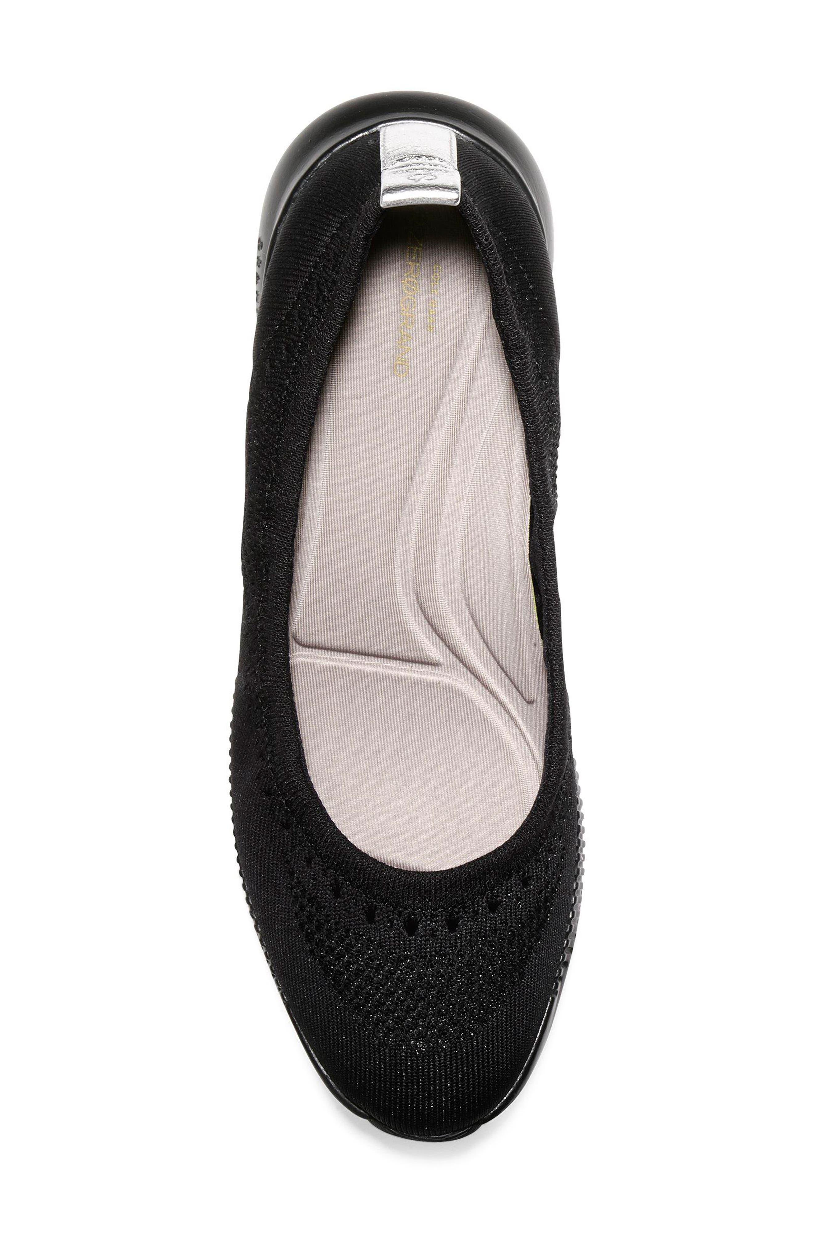 2.ZERØGRAND Stitchlite Ballet Flat,                             Alternate thumbnail 5, color,                             BLACK FABRIC