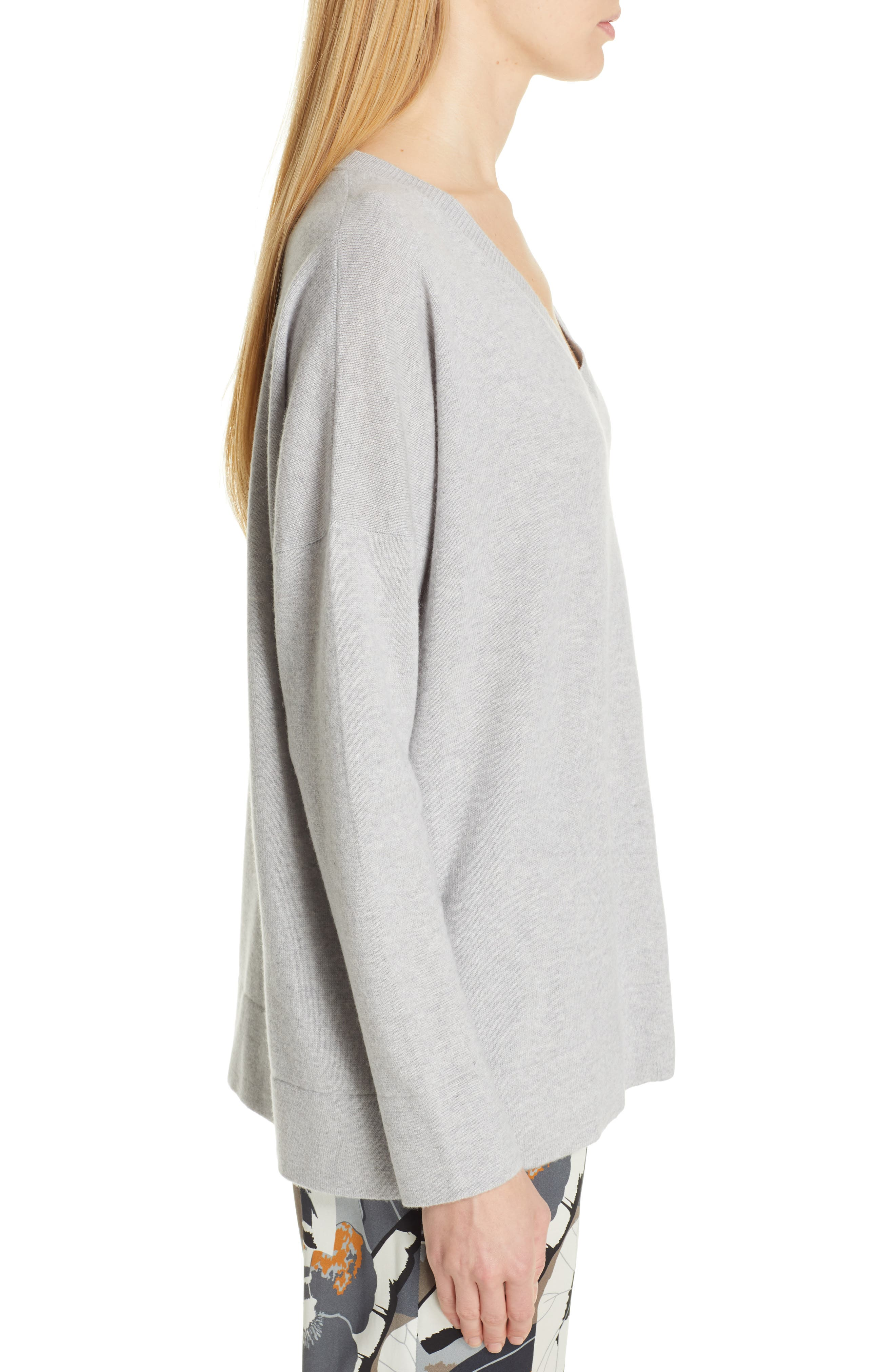 FABIANA FILIPPI,                             Tulle Inset Cashmere Sweater,                             Alternate thumbnail 3, color,                             GREY