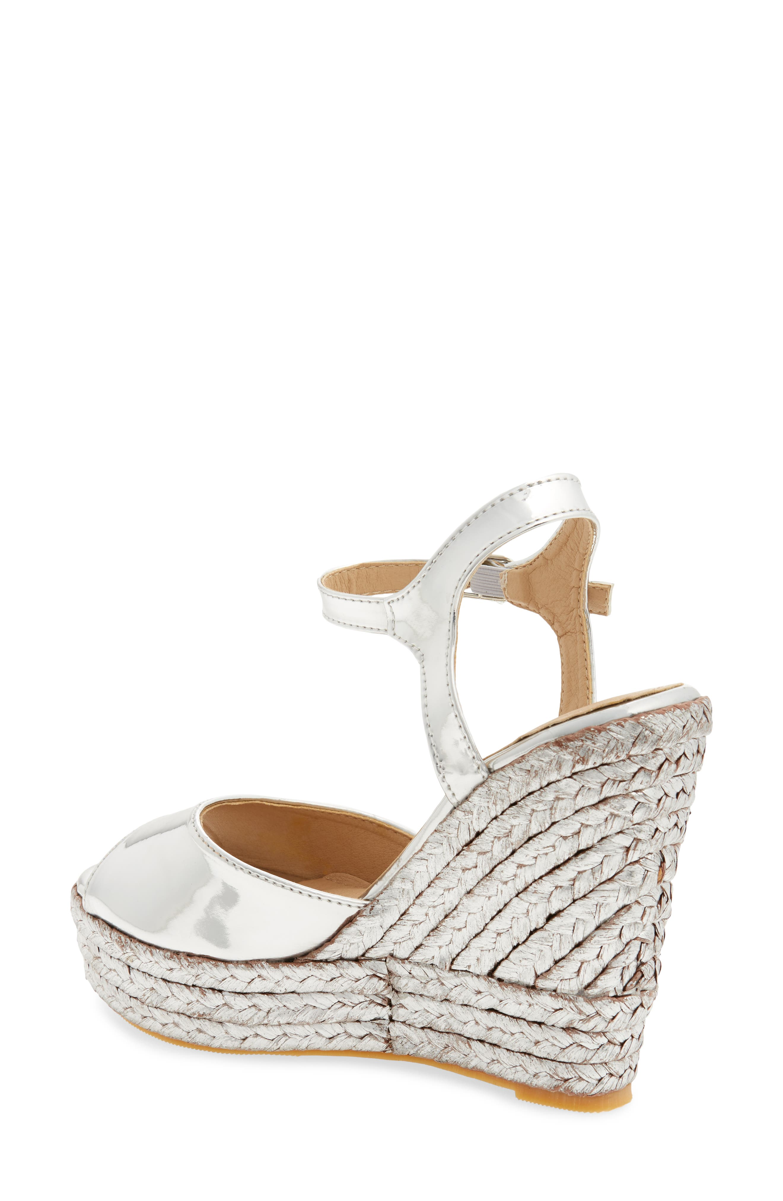 Lina Platform Wedge Sandal,                             Alternate thumbnail 2, color,                             SILVER