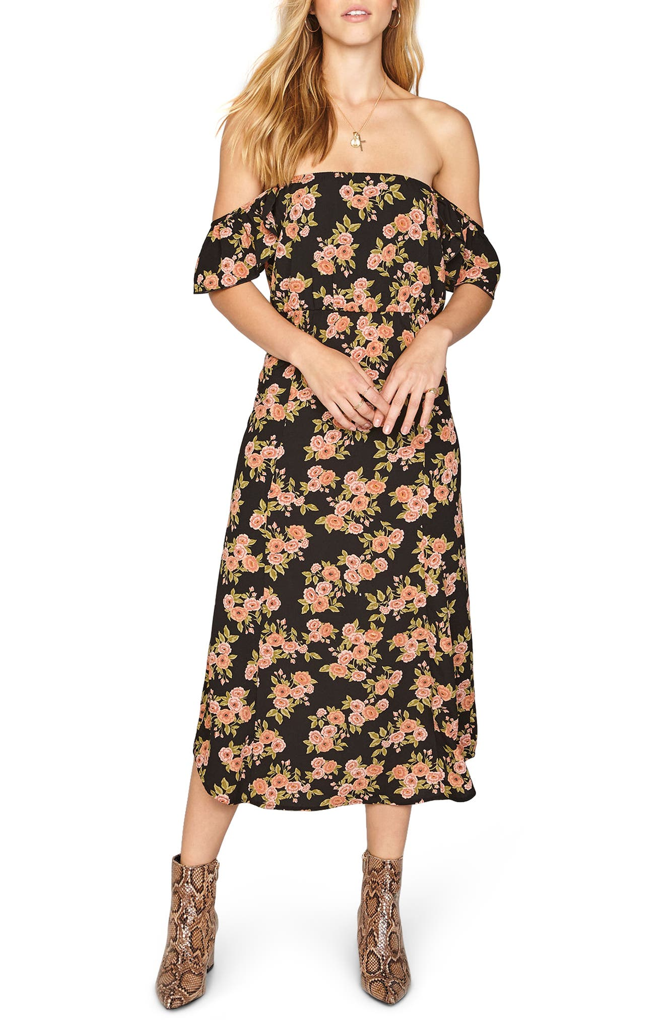 Sweeter Than You Off the Shoulder Midi Dress,                             Main thumbnail 1, color,                             001