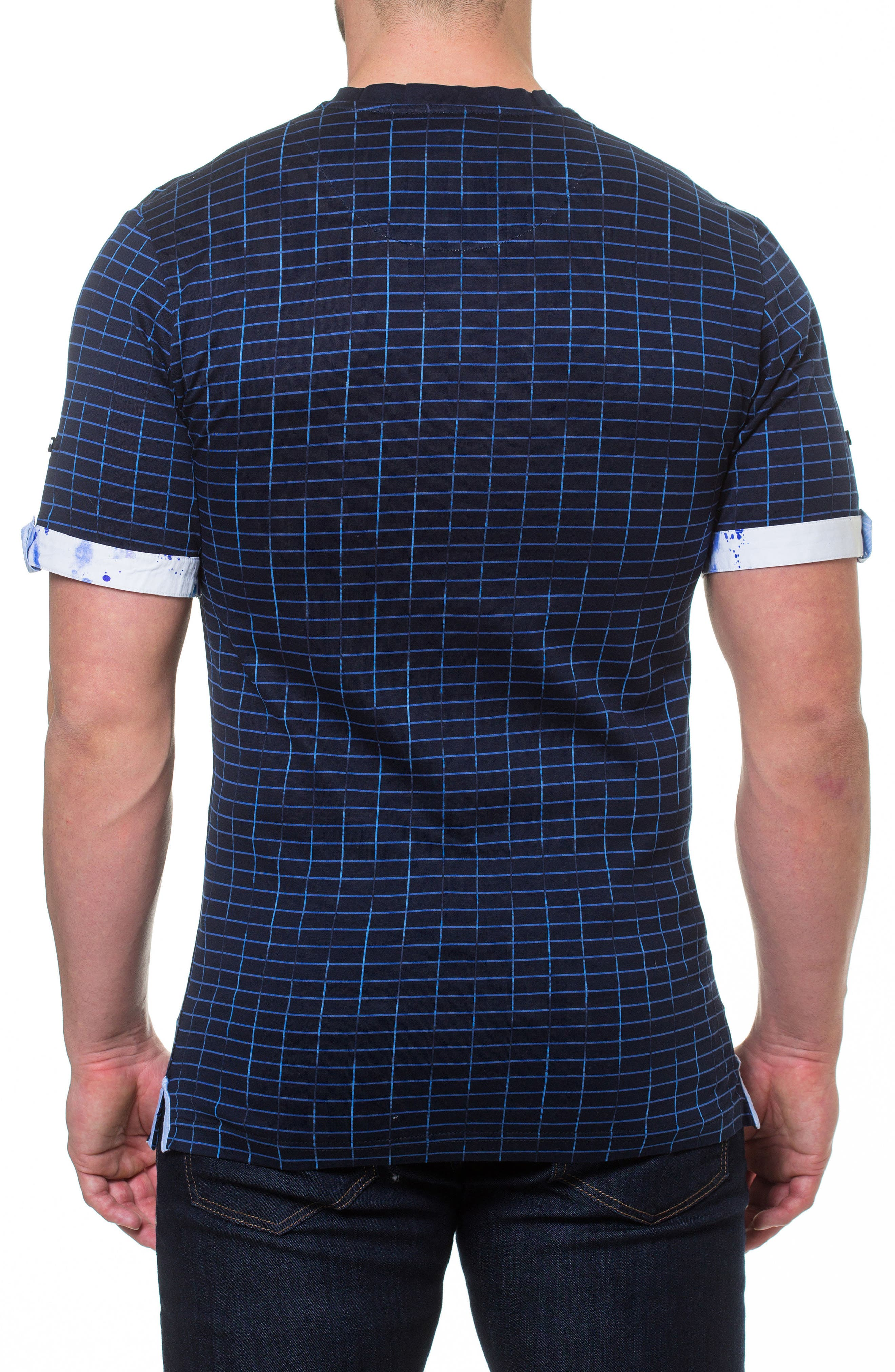 Short Sleeve V-Neck Framework T-Shirt,                             Alternate thumbnail 2, color,                             BLUE