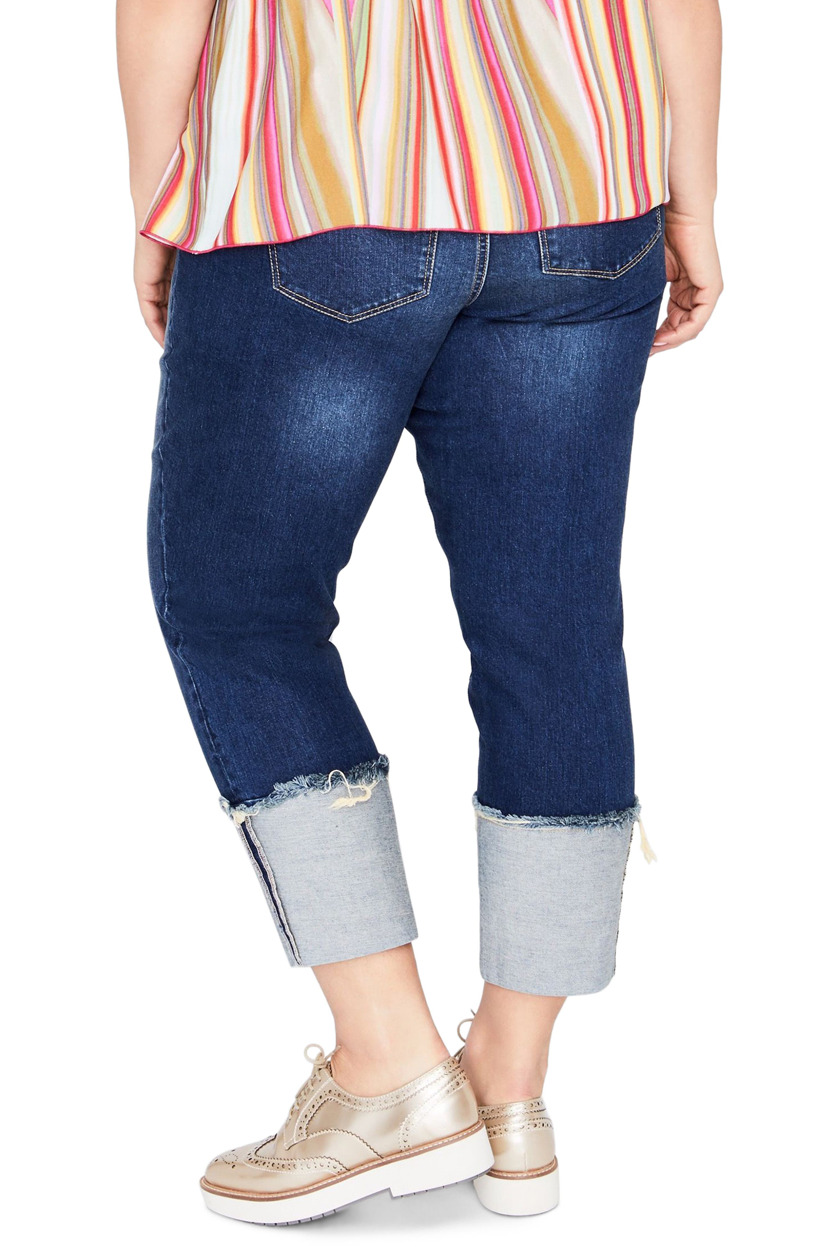 High Waist Wide Cuff Crop Jeans,                             Alternate thumbnail 2, color,                             427