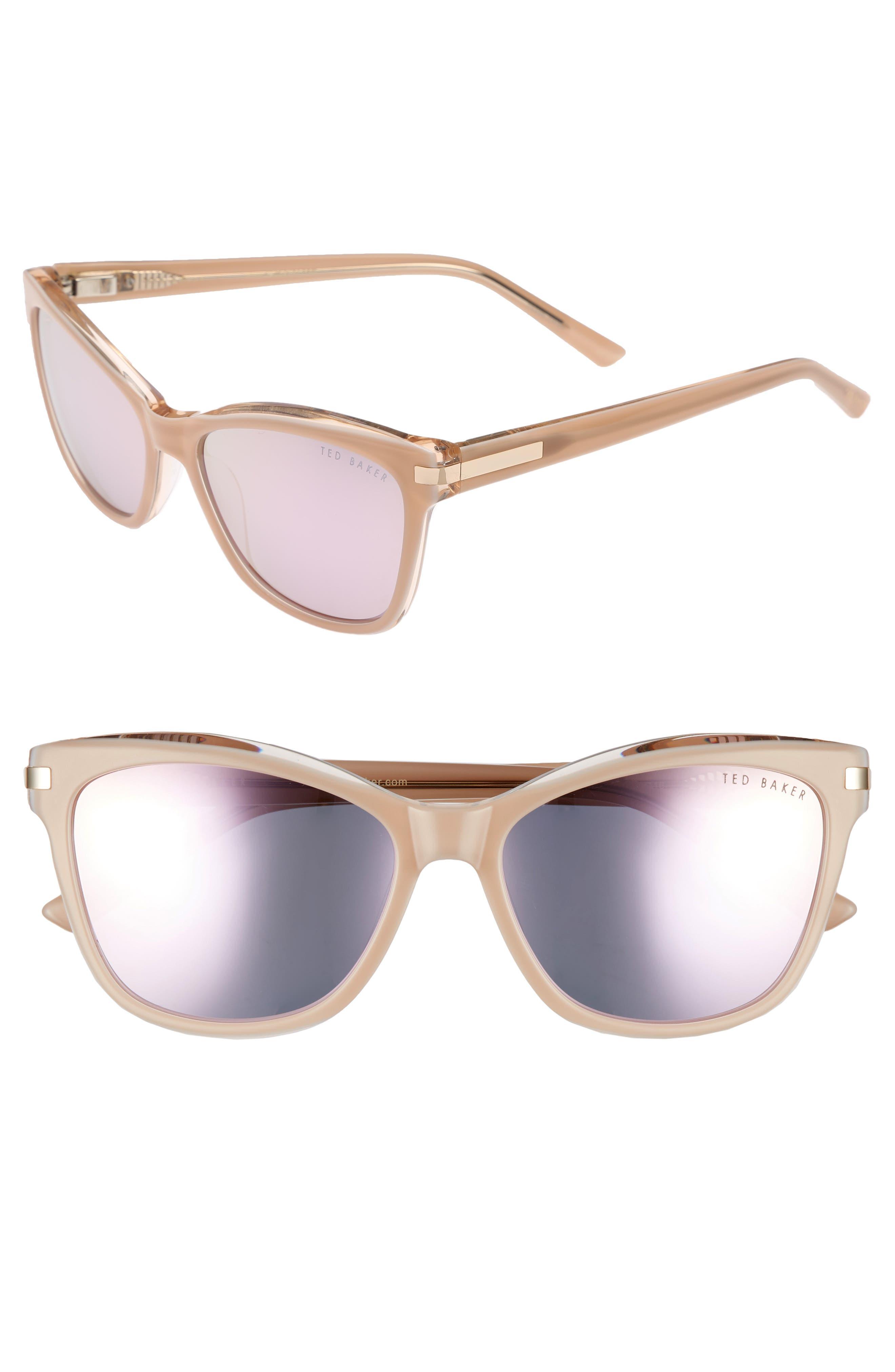 56mm Cat Eye Sunglasses,                             Main thumbnail 1, color,                             BLUSH