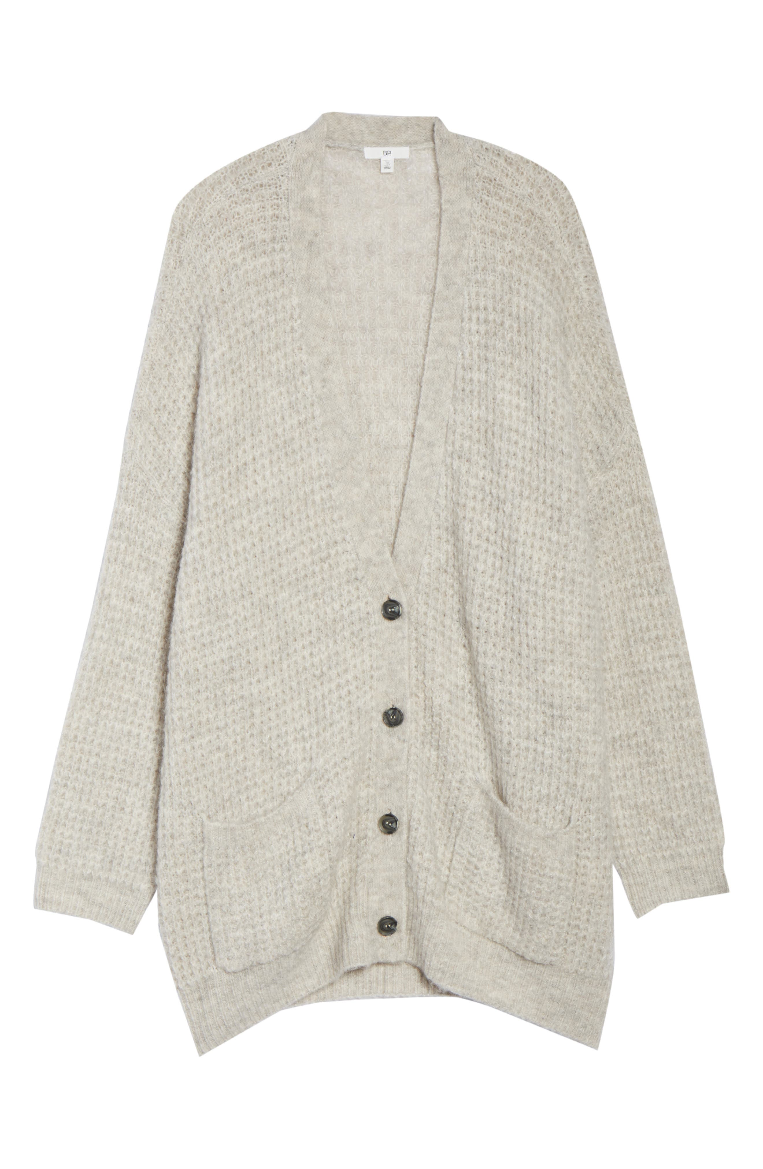 Oversized Waffle Stitch Cardigan,                             Alternate thumbnail 11, color,                             BEIGE BIRCH