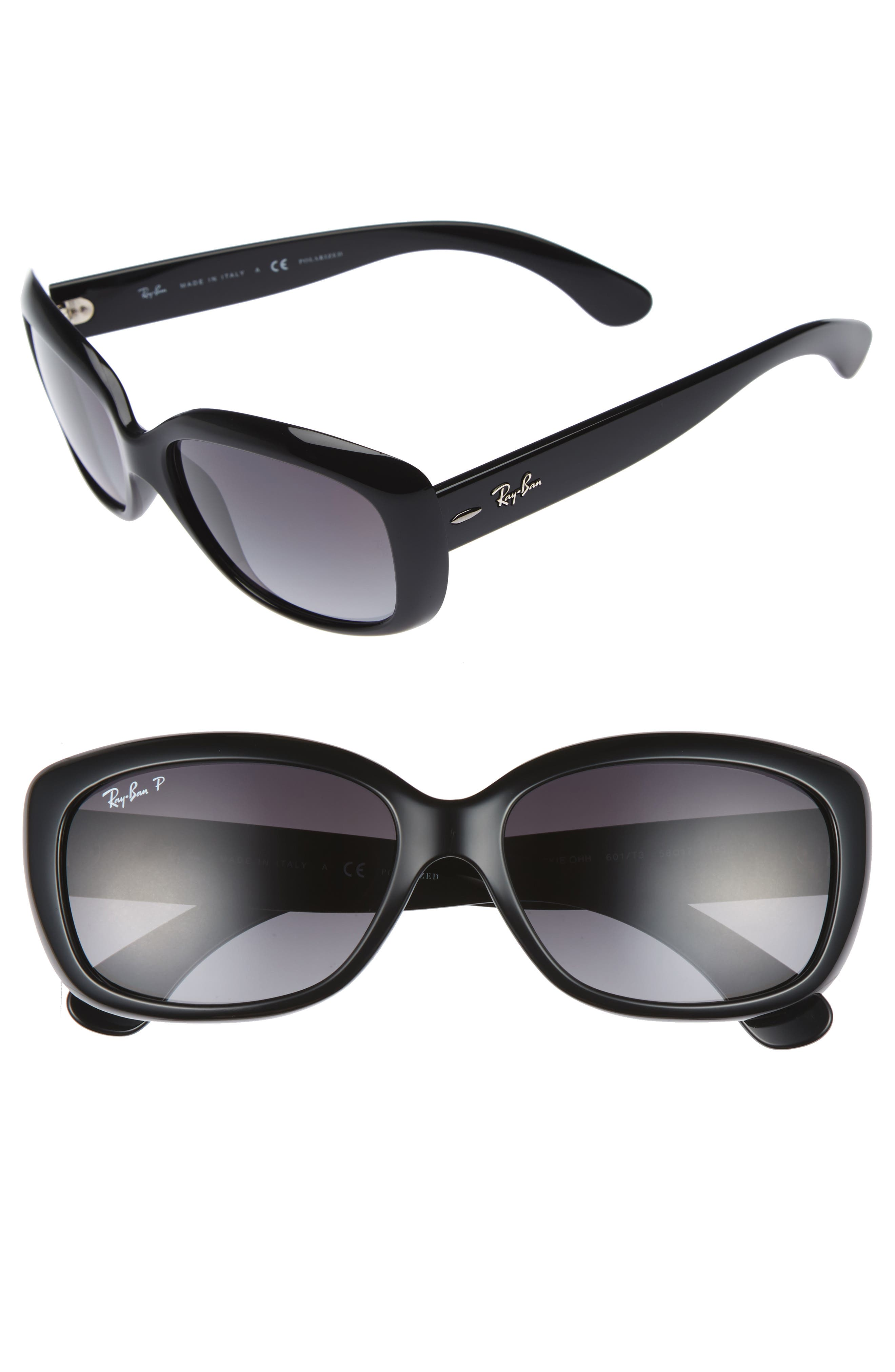 58mm Polarized Sunglasses,                             Main thumbnail 1, color,                             BLACK GREY