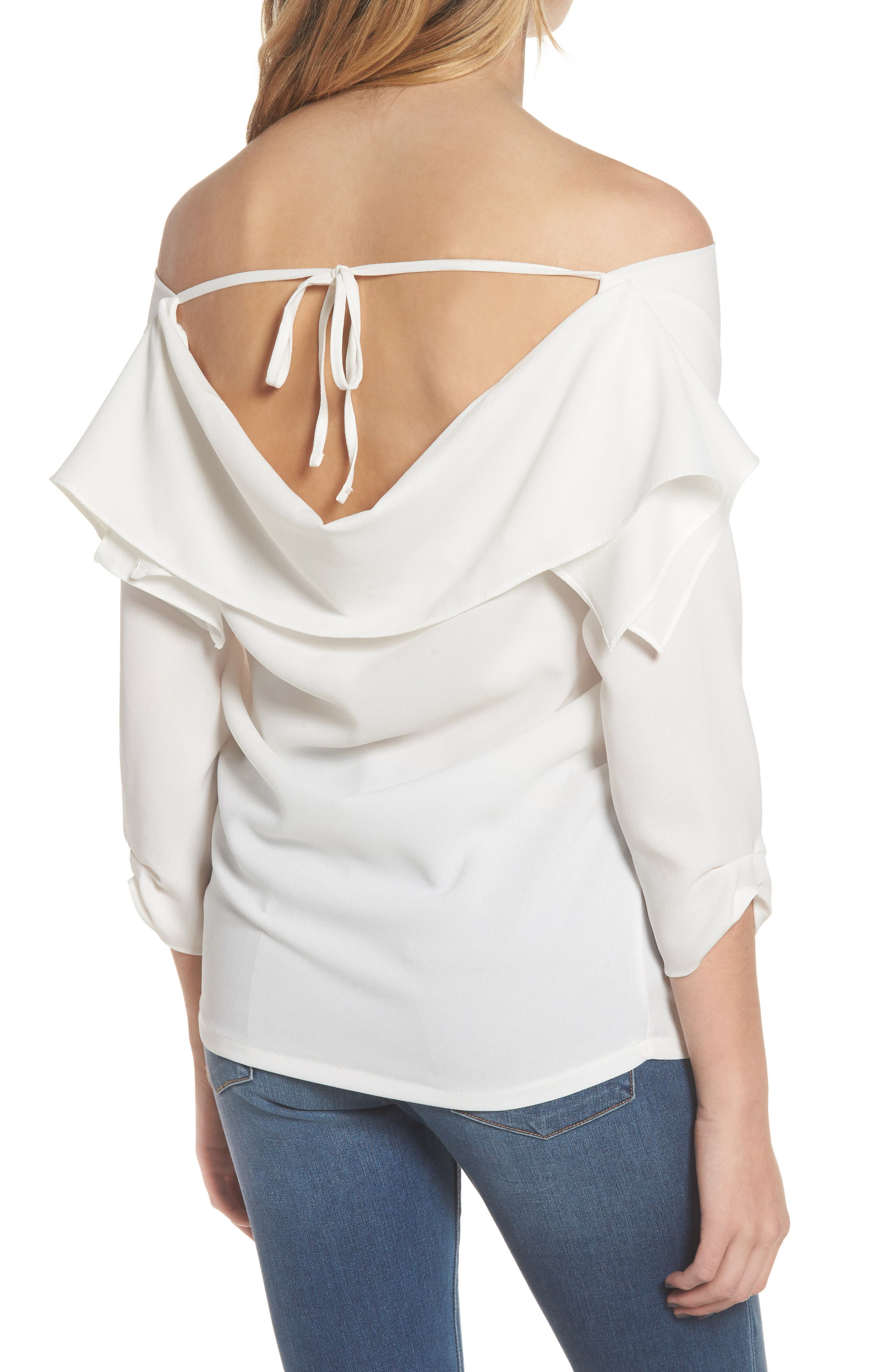 The Picture Perfect Off the Shoulder Blouse,                             Alternate thumbnail 4, color,