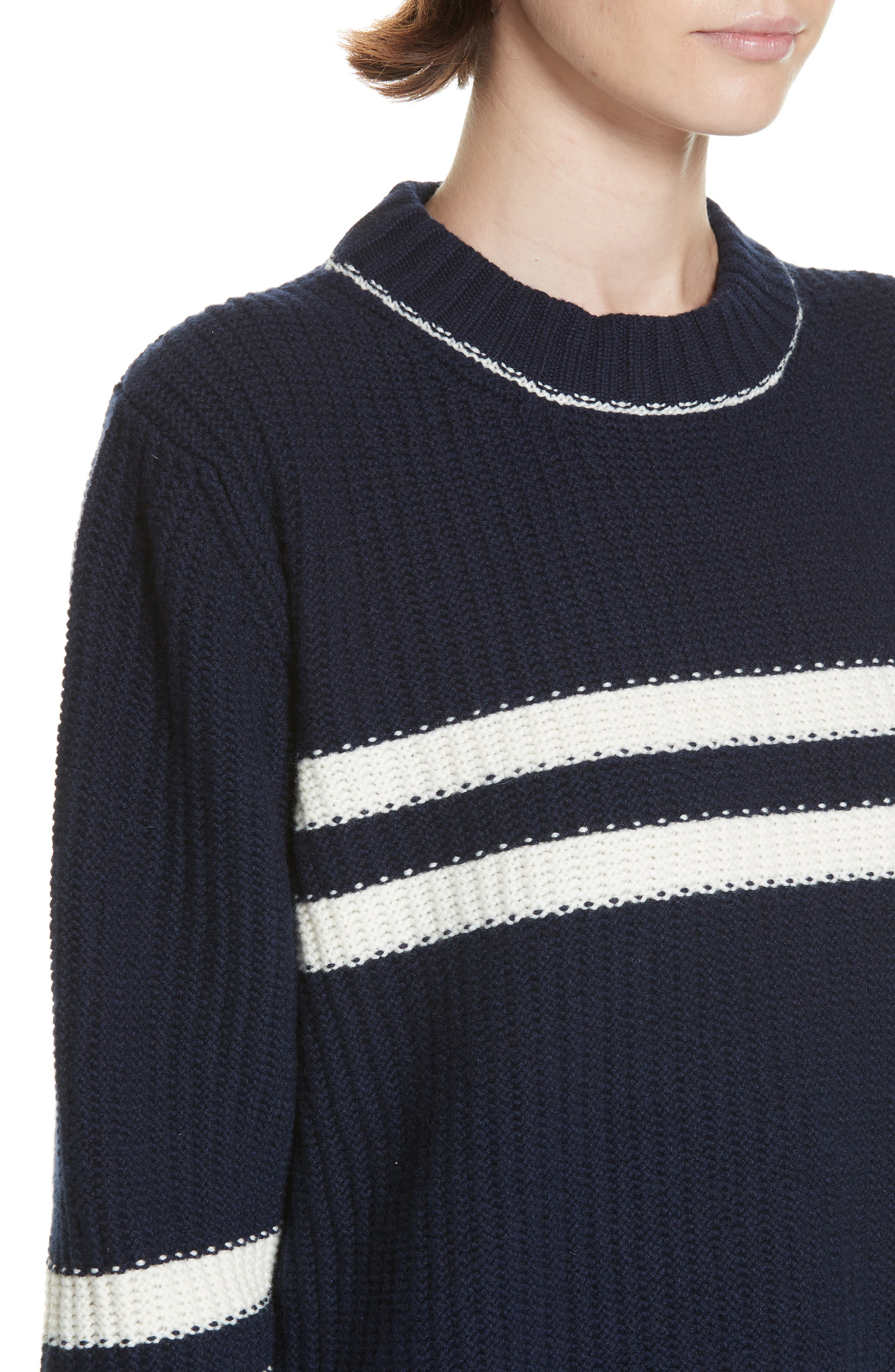 Tieve Stripe Cashmere & Cotton Sweater,                             Alternate thumbnail 4, color,                             NAVY/ ECRU