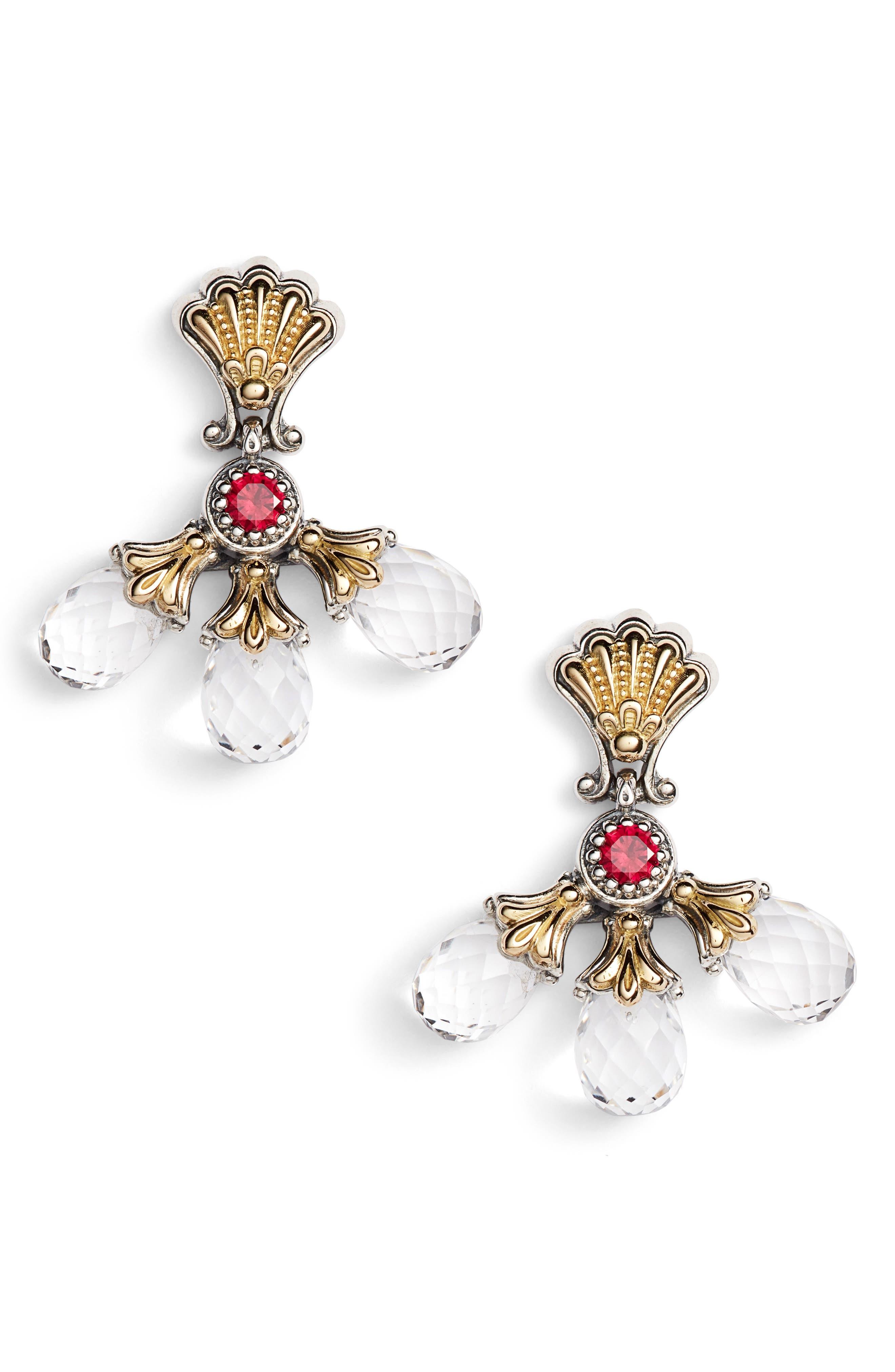 Pythia Triple Crystal Drop Earrings,                             Main thumbnail 1, color,                             SILVER/ CRYSTAL