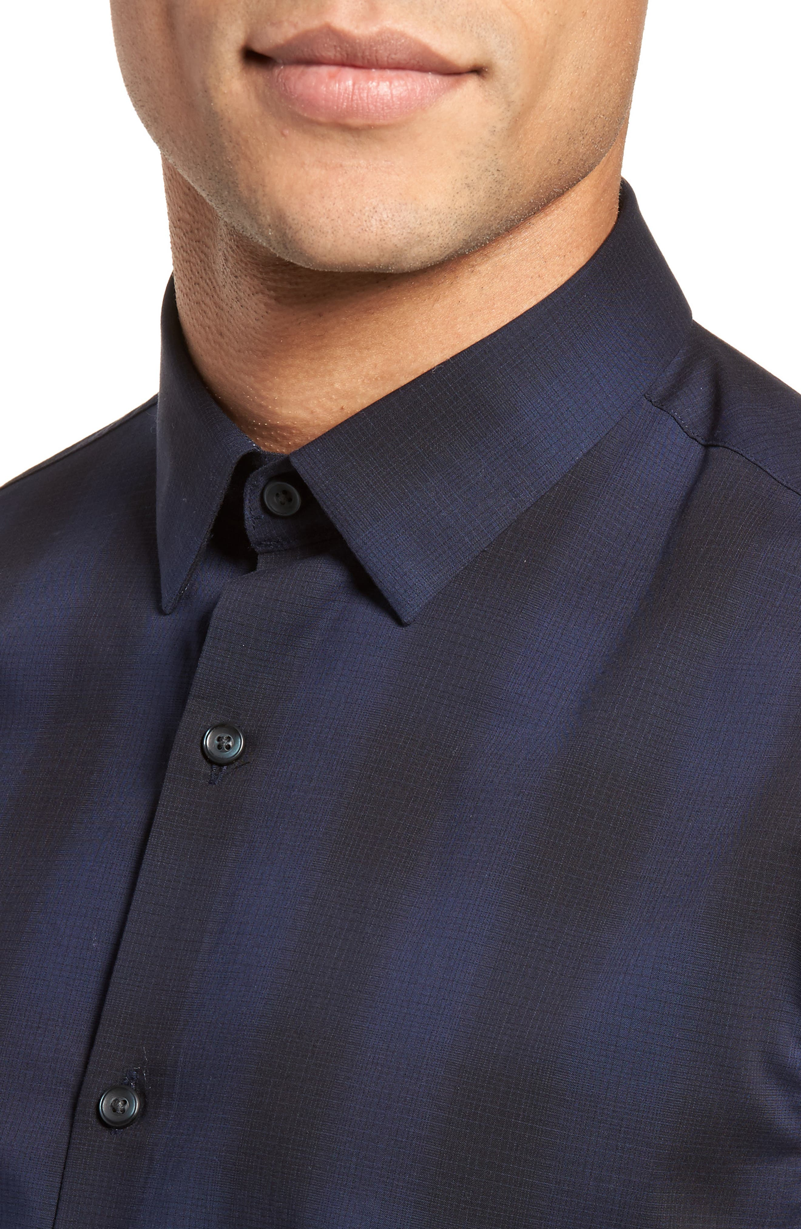 Trim Fit Plaid Sport Shirt,                             Alternate thumbnail 7, color,