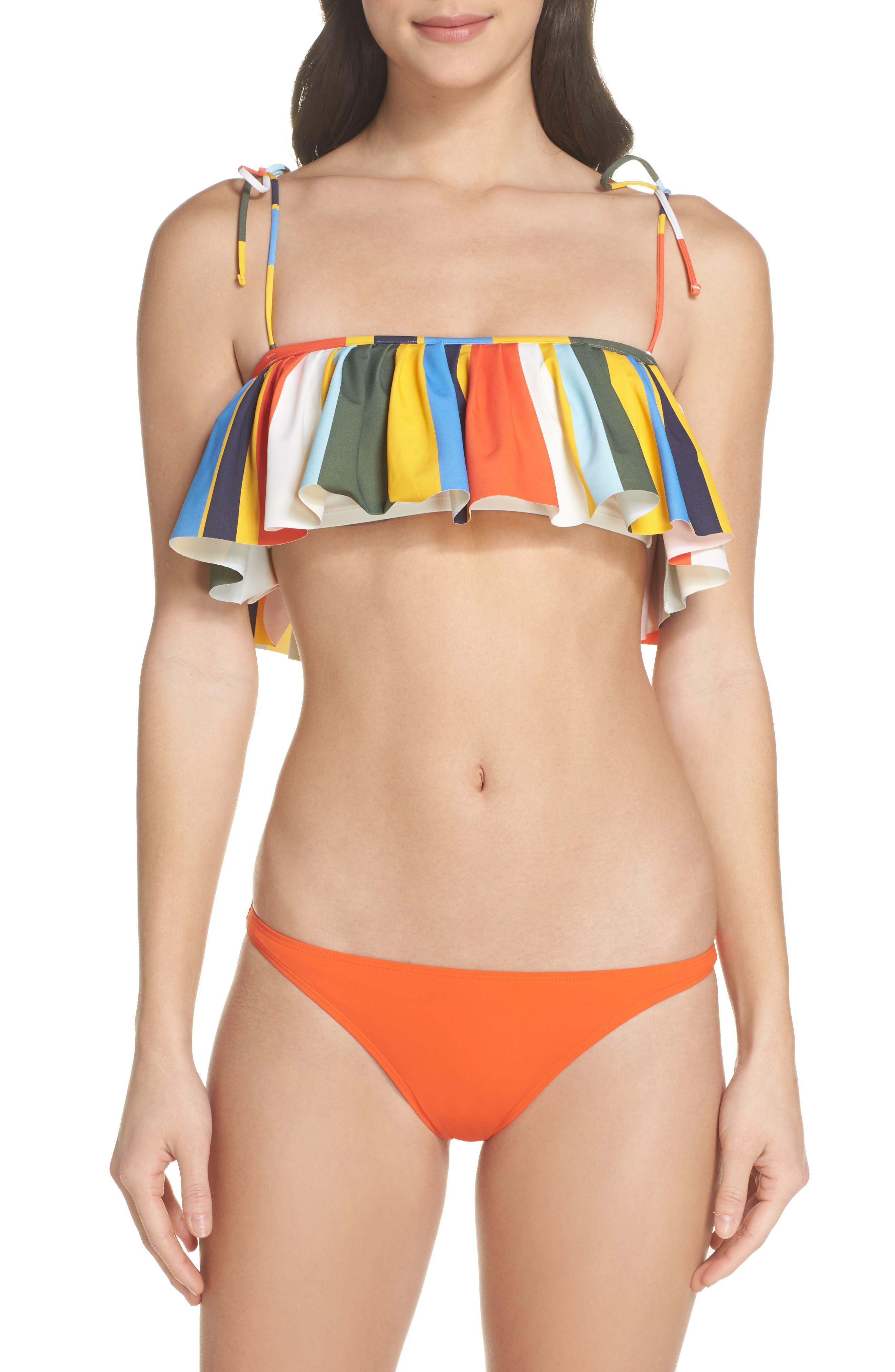 Balloon Stripe Flounce Bikini Top,                             Alternate thumbnail 7, color,                             886