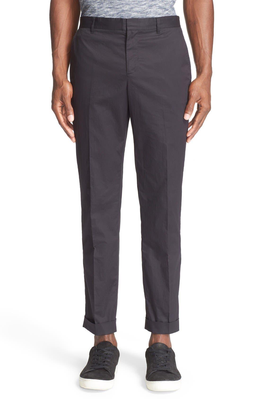 Cuffed Cotton Poplin Pants,                         Main,                         color, 001