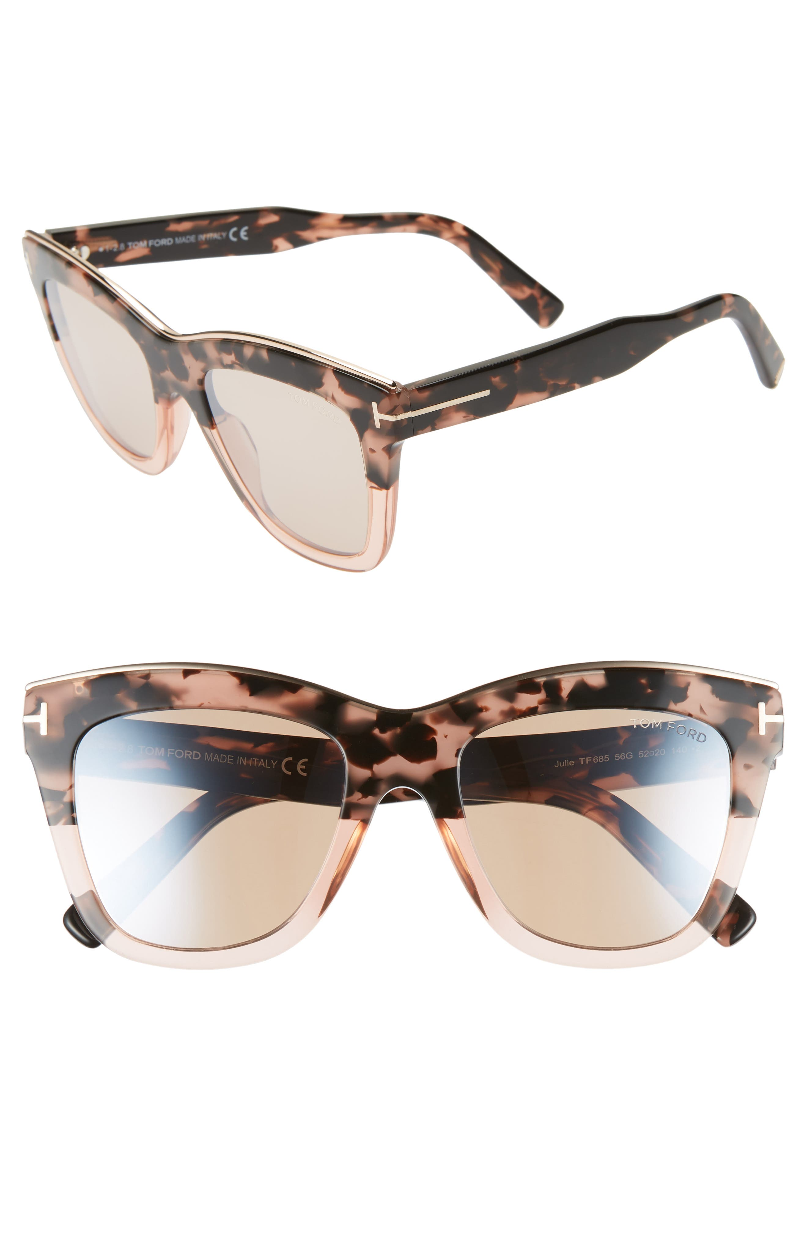Tom Ford Julie 52Mm Sunglasses - Pink Havana/ Champagne