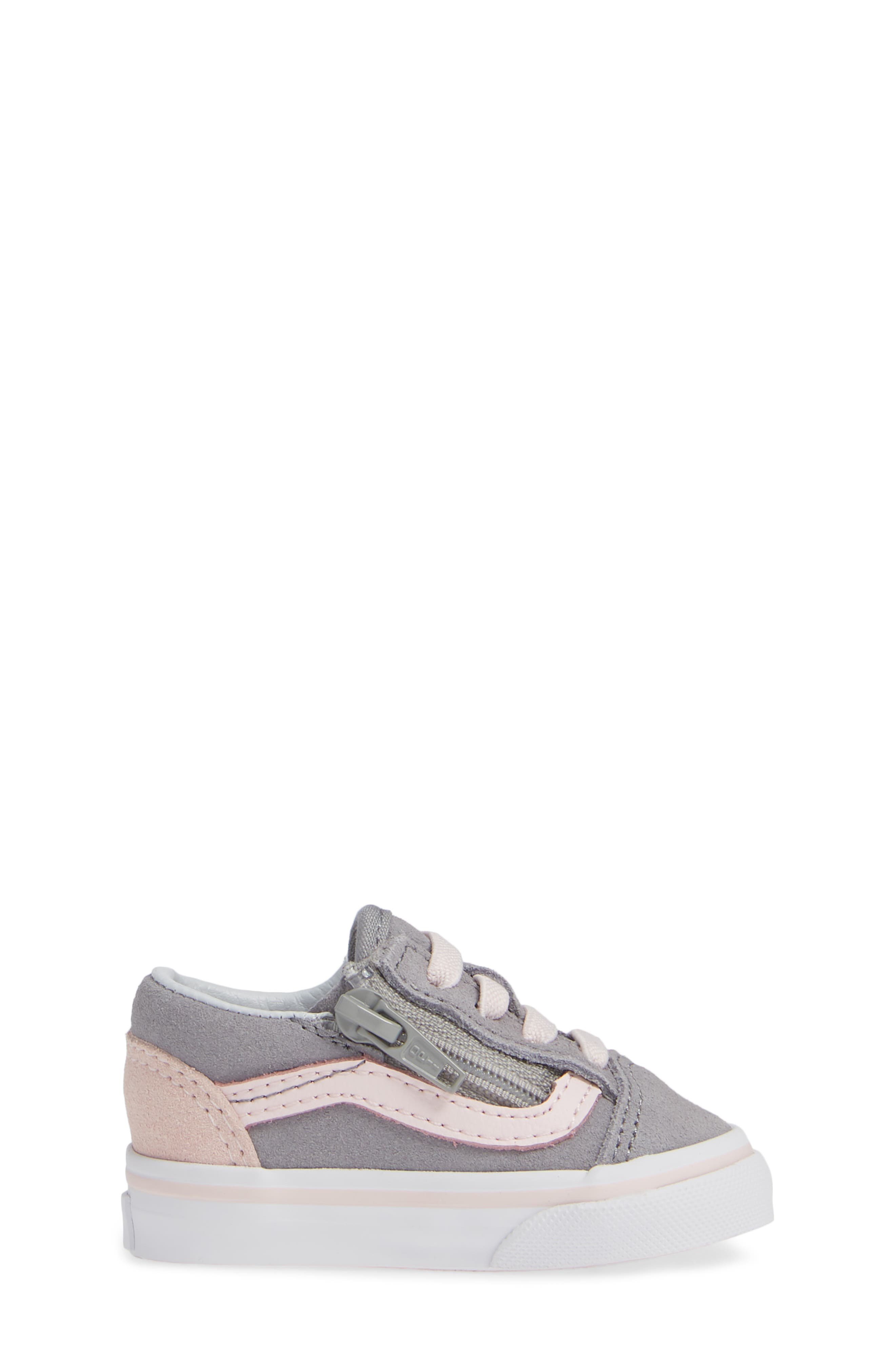 Old Skool Zip Sneaker,                             Alternate thumbnail 3, color,                             SUEDE ALLOY/ PINK/ TRUE WHITE