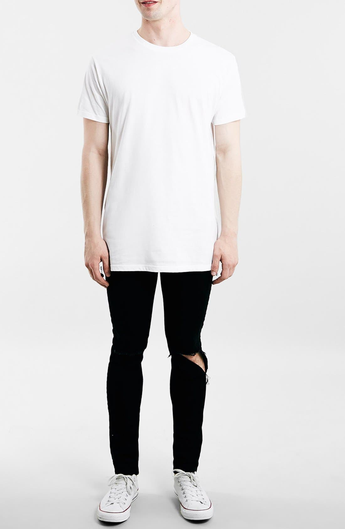 Slim Fit Longline T-Shirt with Side Zip Detail,                             Alternate thumbnail 3, color,                             100