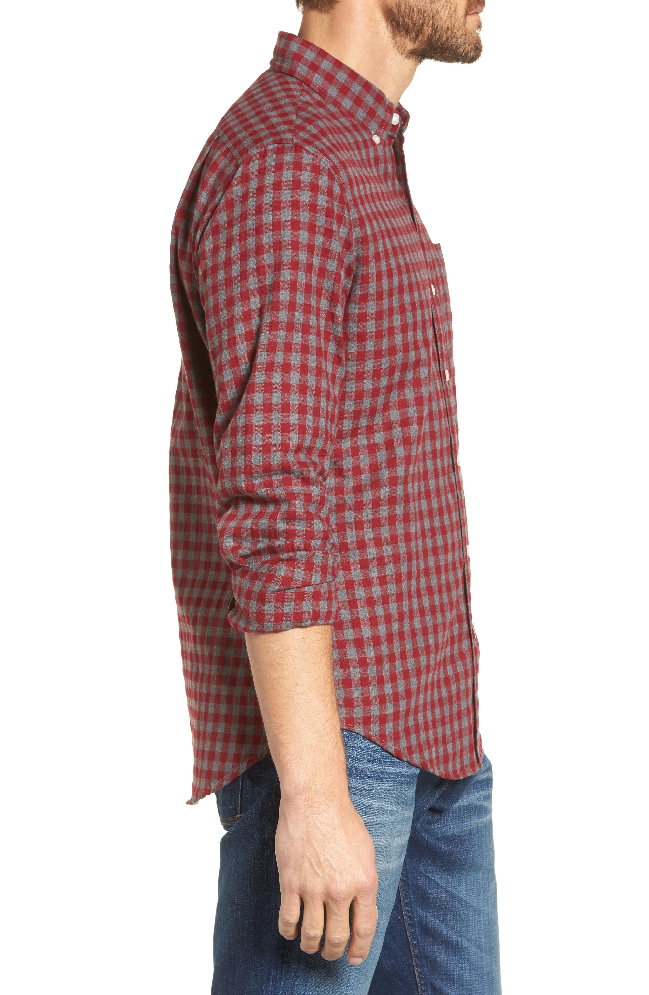 Slim Fit Washed Check Herringbone Sport Shirt,                             Alternate thumbnail 3, color,                             600