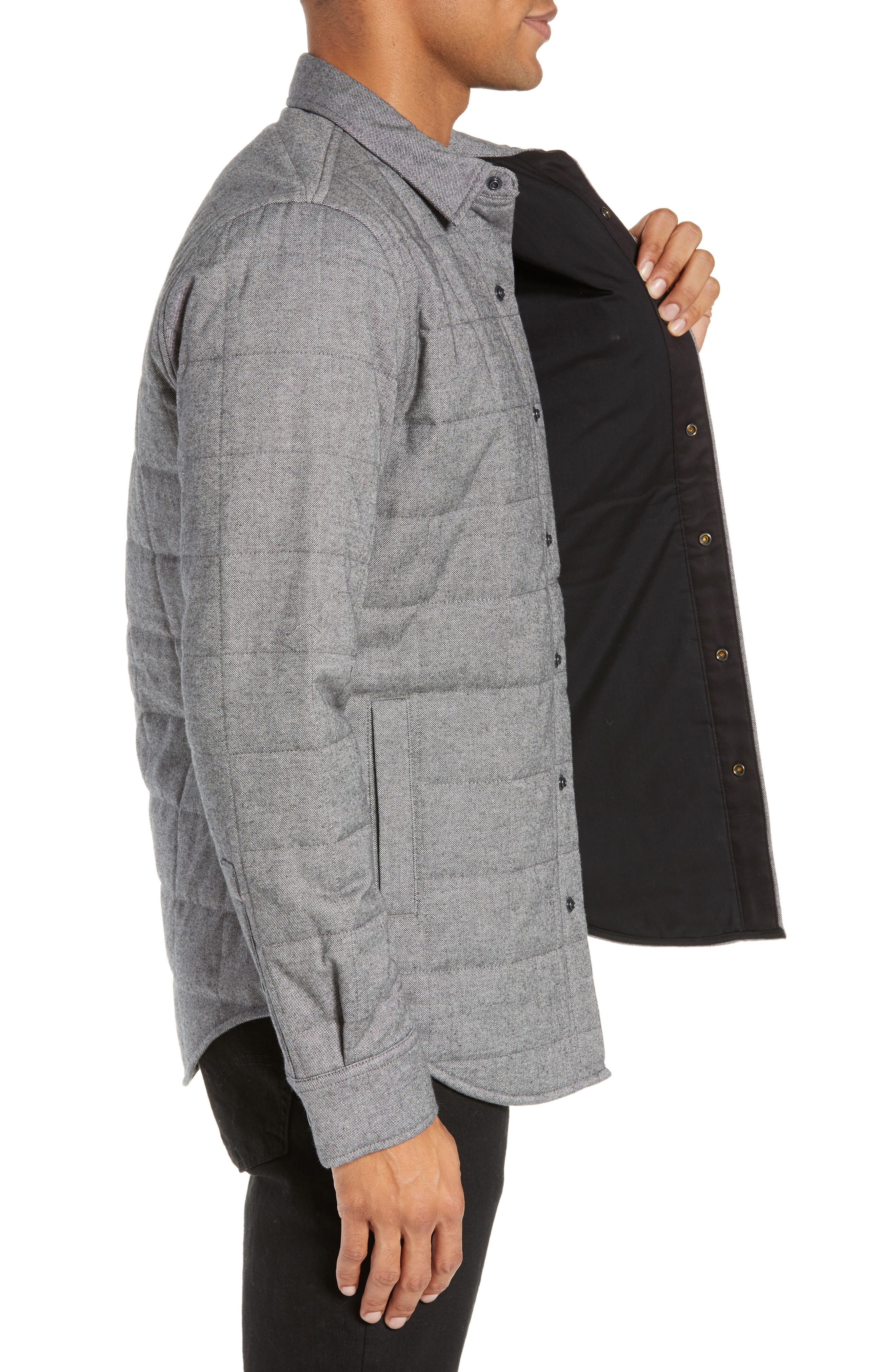 Quilted Herringbone Shirt Jacket,                             Alternate thumbnail 3, color,                             GREY COTTON HERRINGBONE