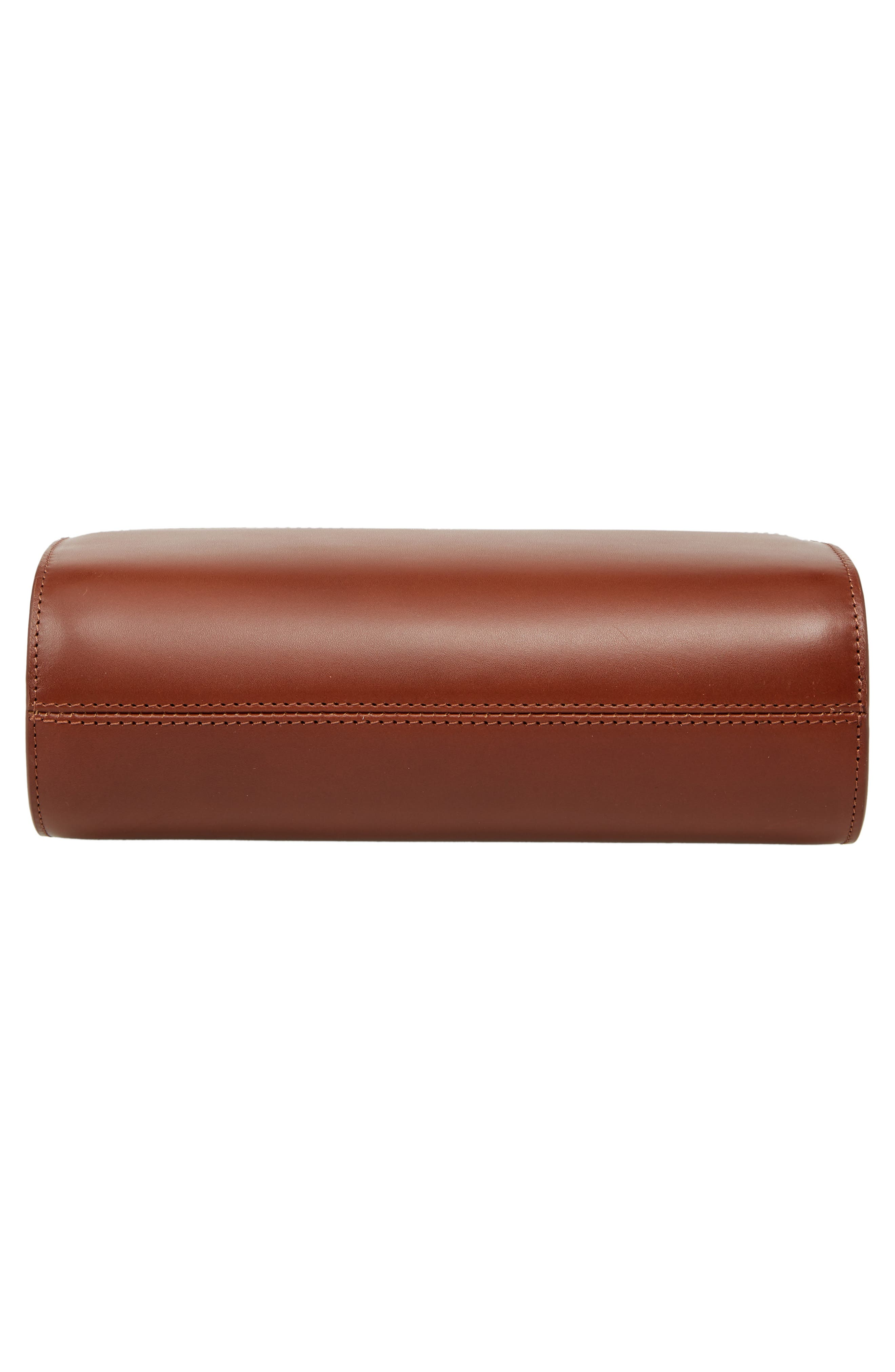 Sac Demilune Leather & Denim Crossbody Bag,                             Alternate thumbnail 6, color,                             NOISETTE CAD