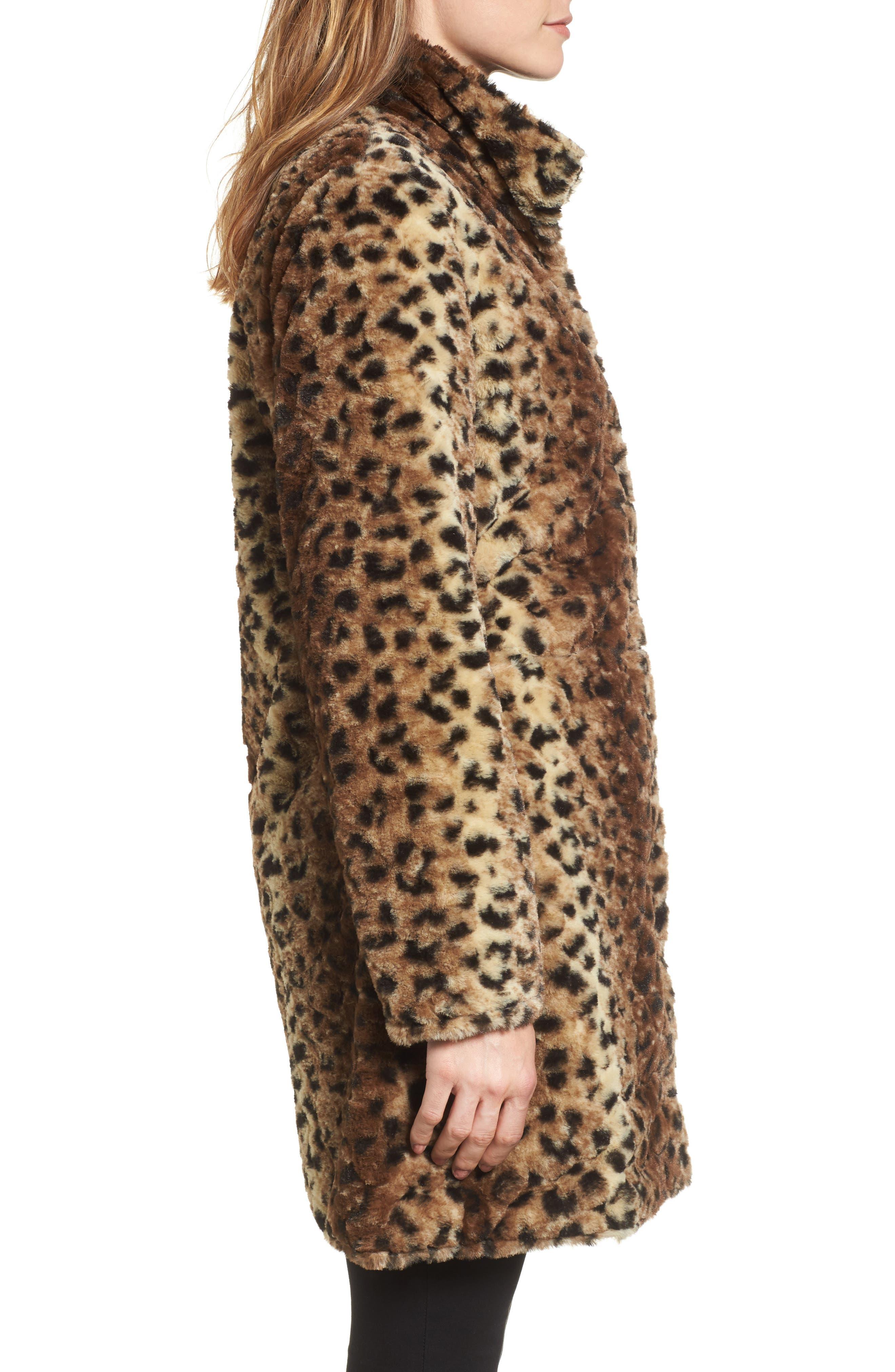 Reversible Faux Leopard Fur Coat,                             Alternate thumbnail 7, color,