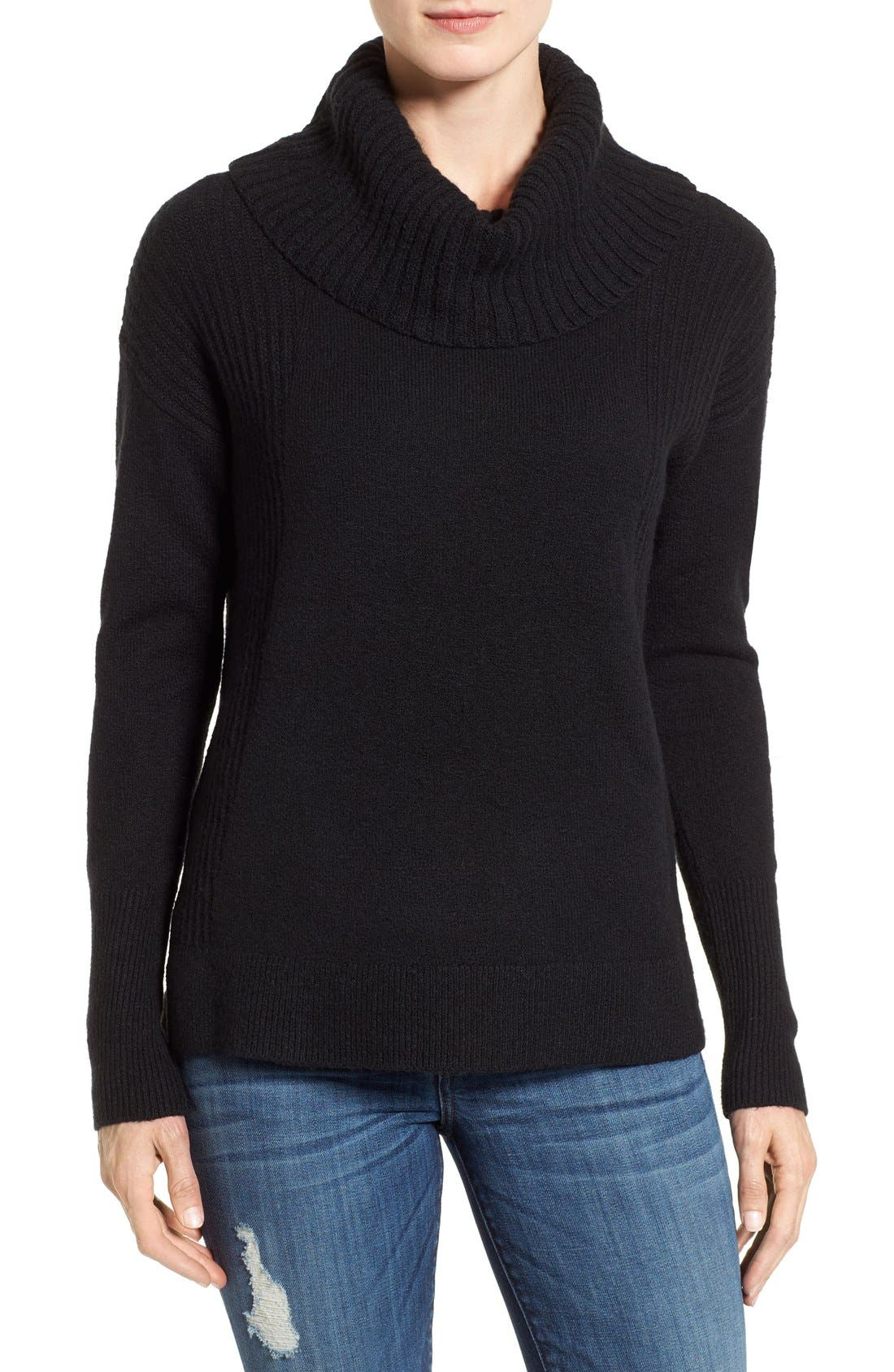 Cozy Rib Detail Relaxed Turtleneck,                             Main thumbnail 1, color,                             BLACK