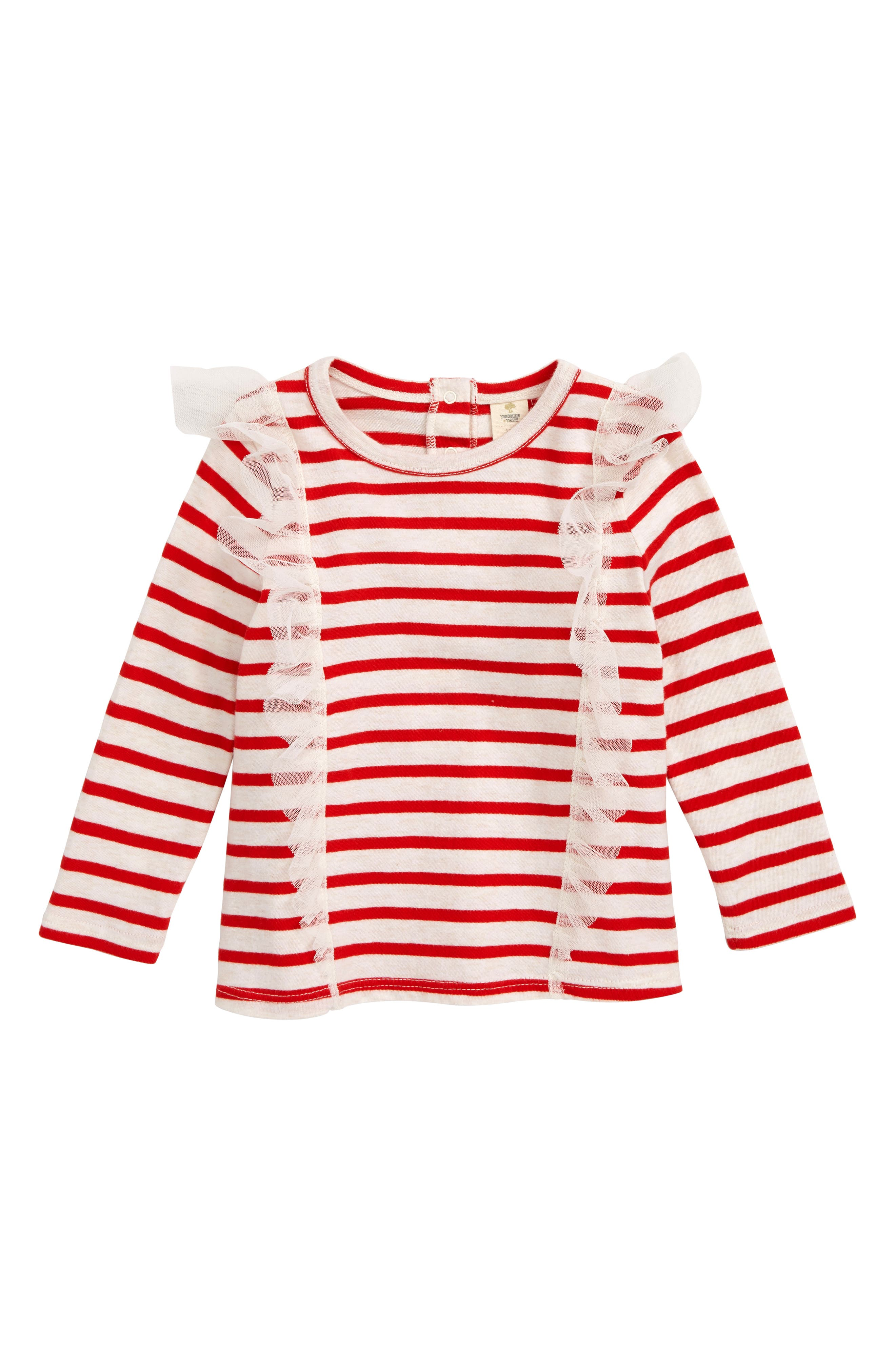 Tulle Ruffle Stripe T-Shirt,                             Main thumbnail 1, color,                             RED PEPPER- IVORY STRIPE