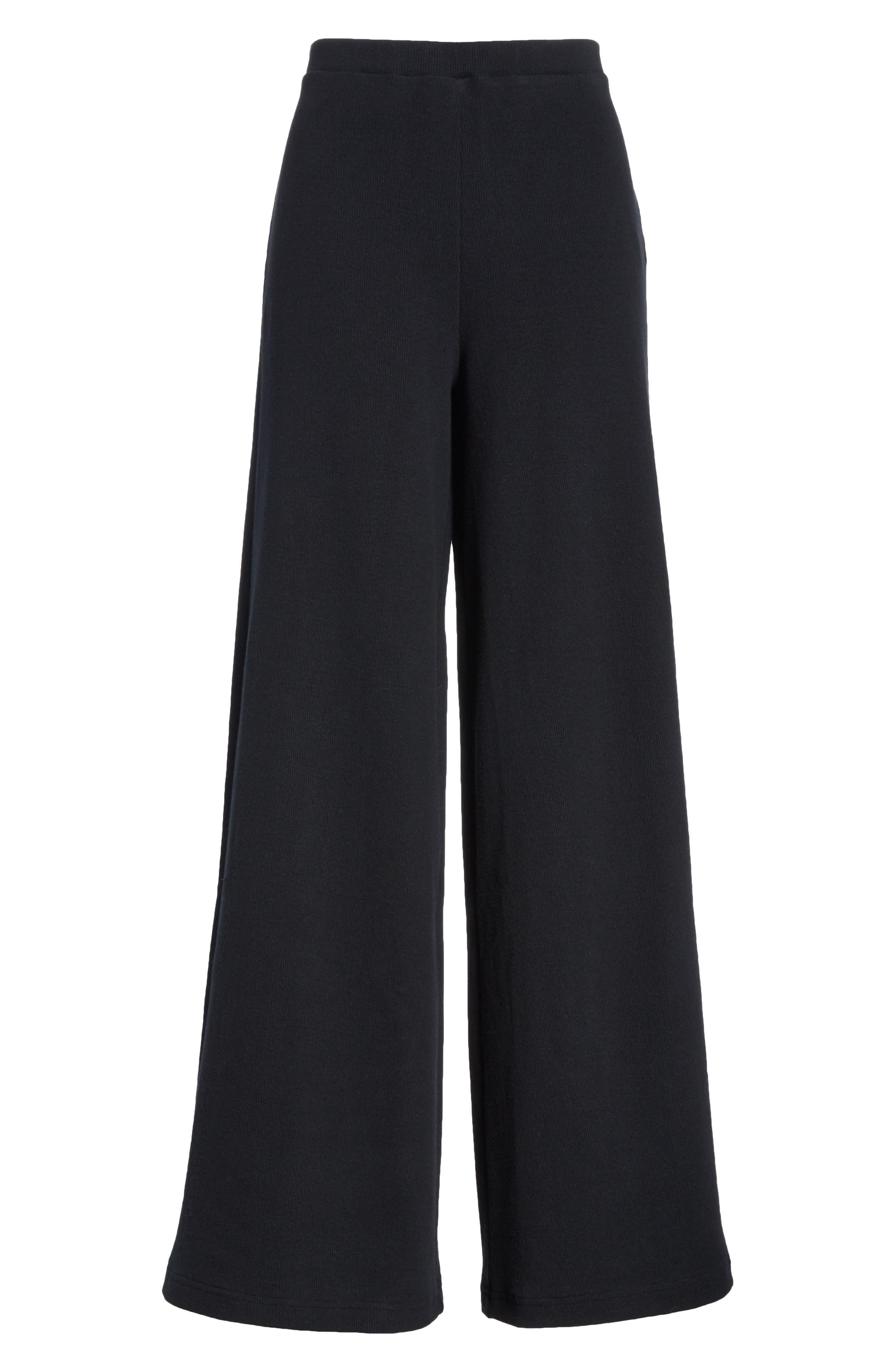Wide Leg Rib Pants,                             Alternate thumbnail 6, color,                             BLACK
