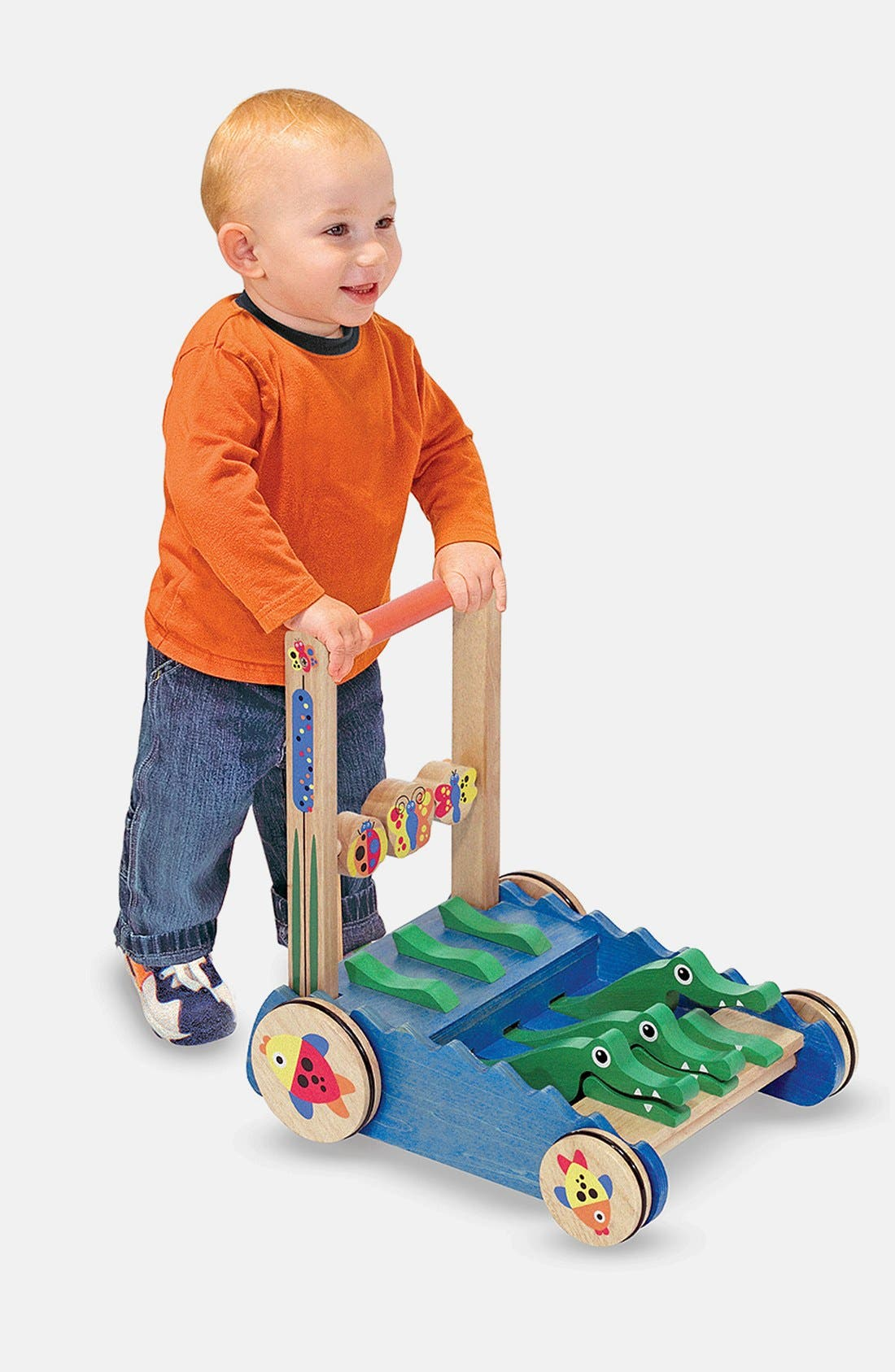 'Chomp & Clack' Personalized Alligator Push Toy,                             Alternate thumbnail 3, color,                             BLUE