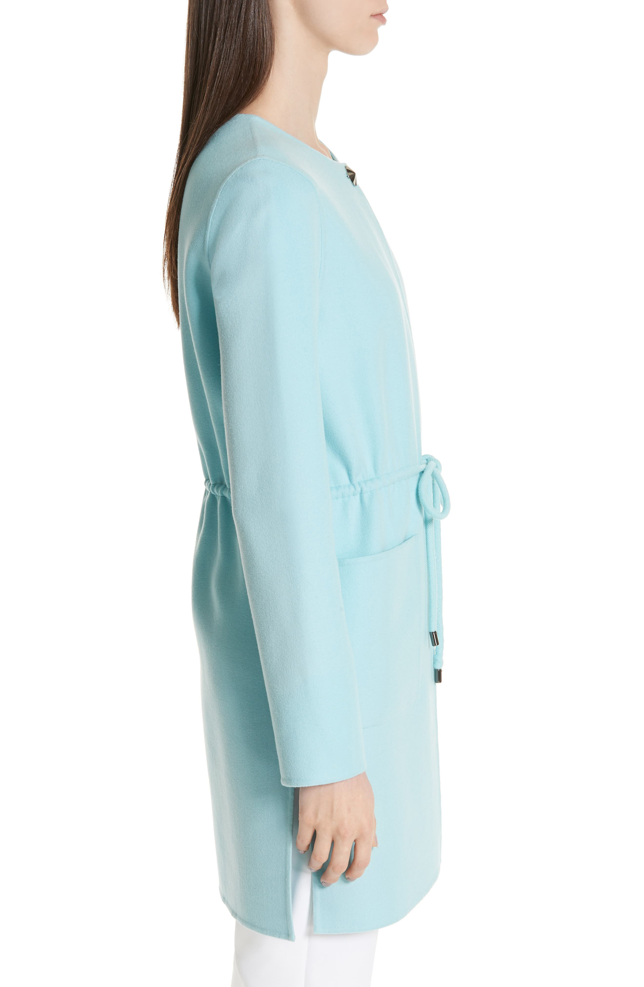 ST. JOHN COLLECTION,                             Double Face Wool & Cashmere Jacket,                             Alternate thumbnail 4, color,                             AQUAMARINE