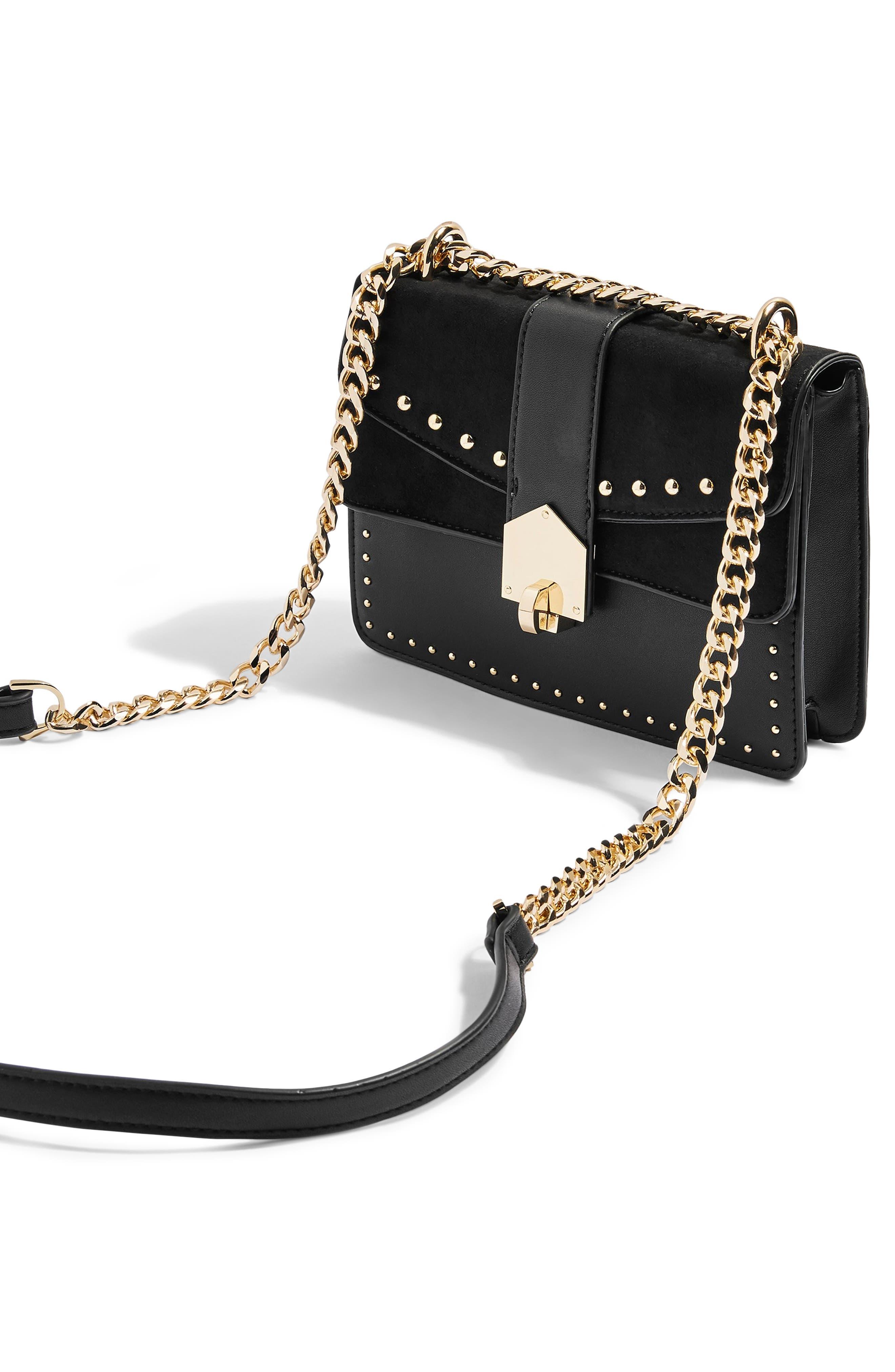 Shelby Stud Crossbody Bag,                             Alternate thumbnail 4, color,                             BLACK